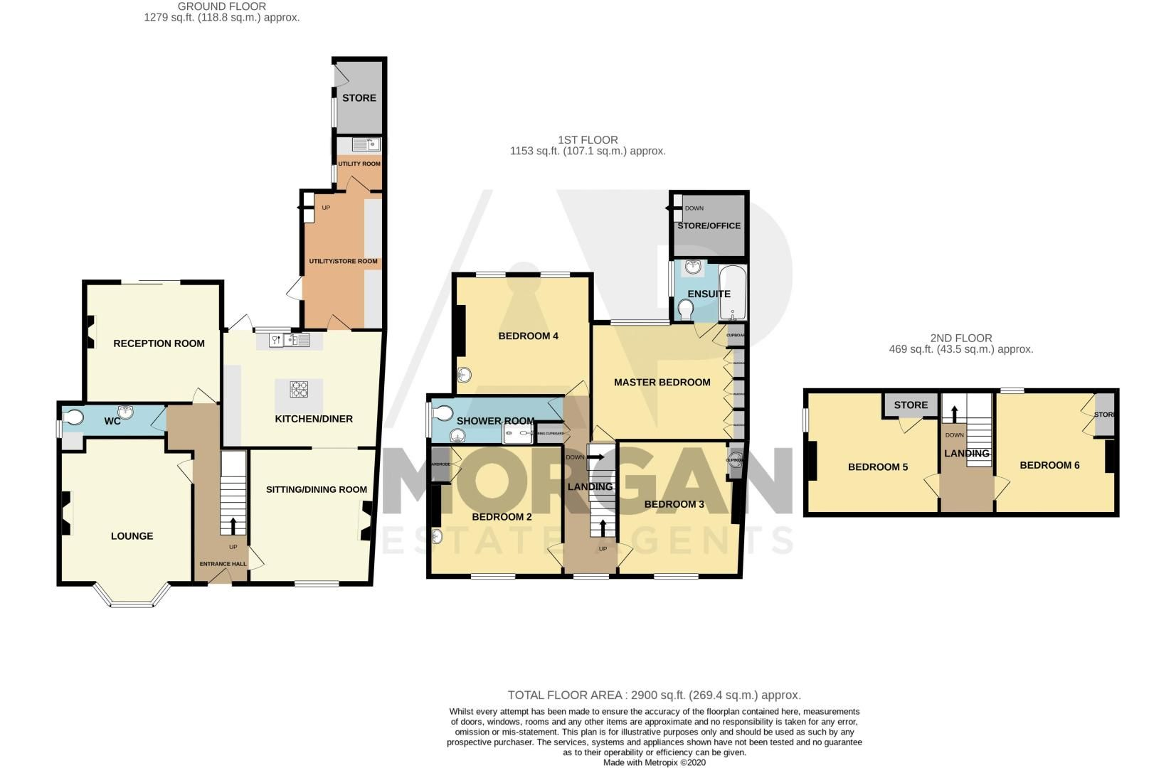 6 bed house for sale in Worcester Road - Property Floorplan