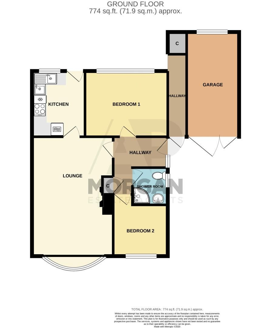 2 bed bungalow for sale in Parkfield Road - Property Floorplan