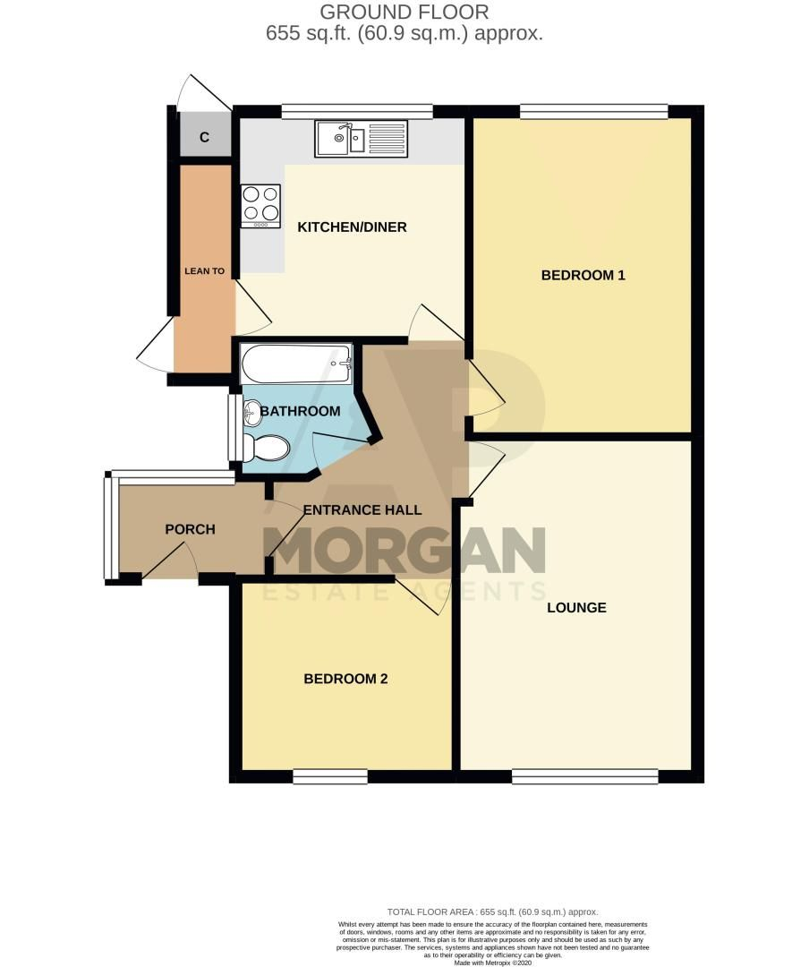 2 bed bungalow for sale in Birchgate - Property Floorplan