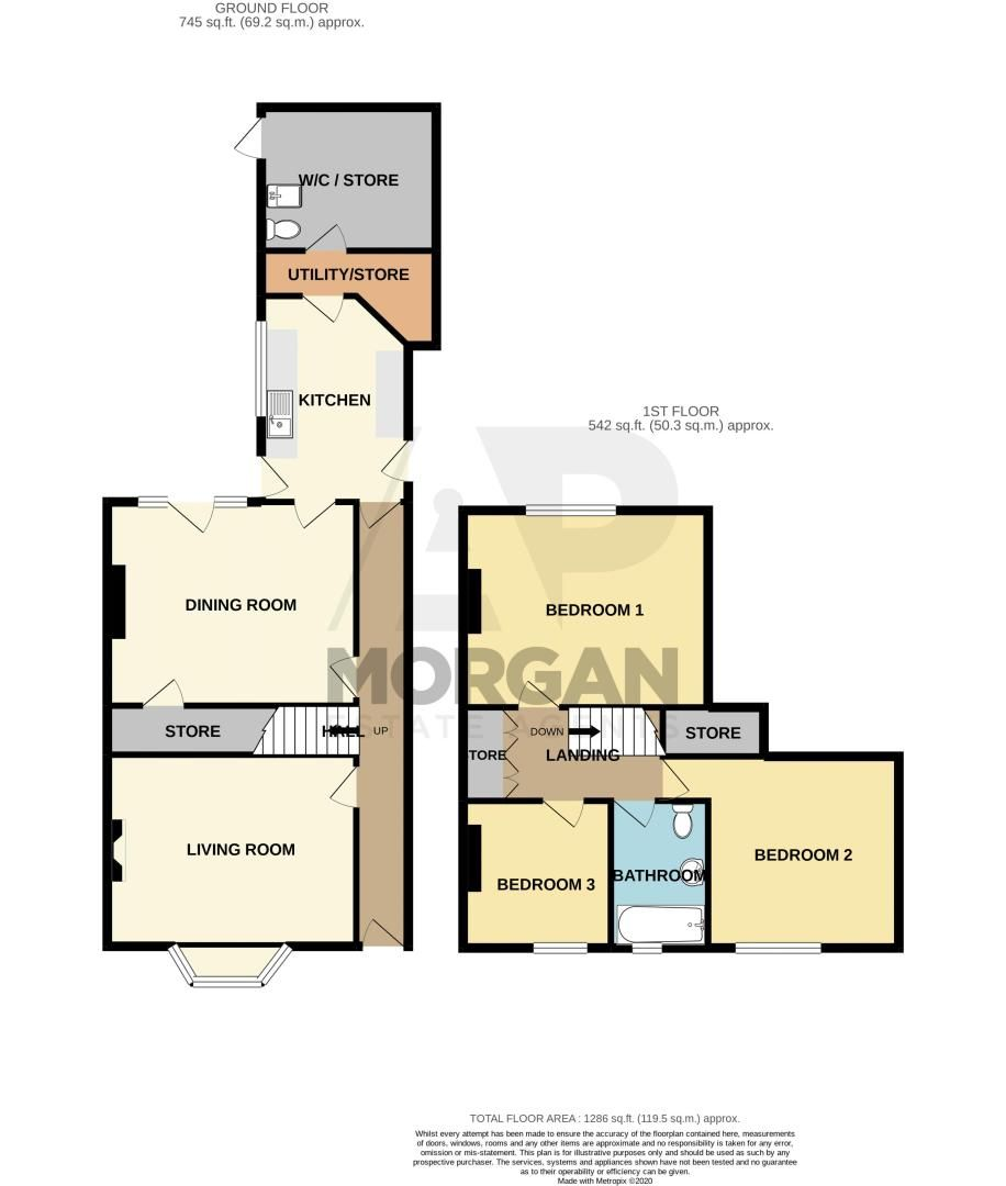 3 bed house for sale in Cleveland Street - Property Floorplan