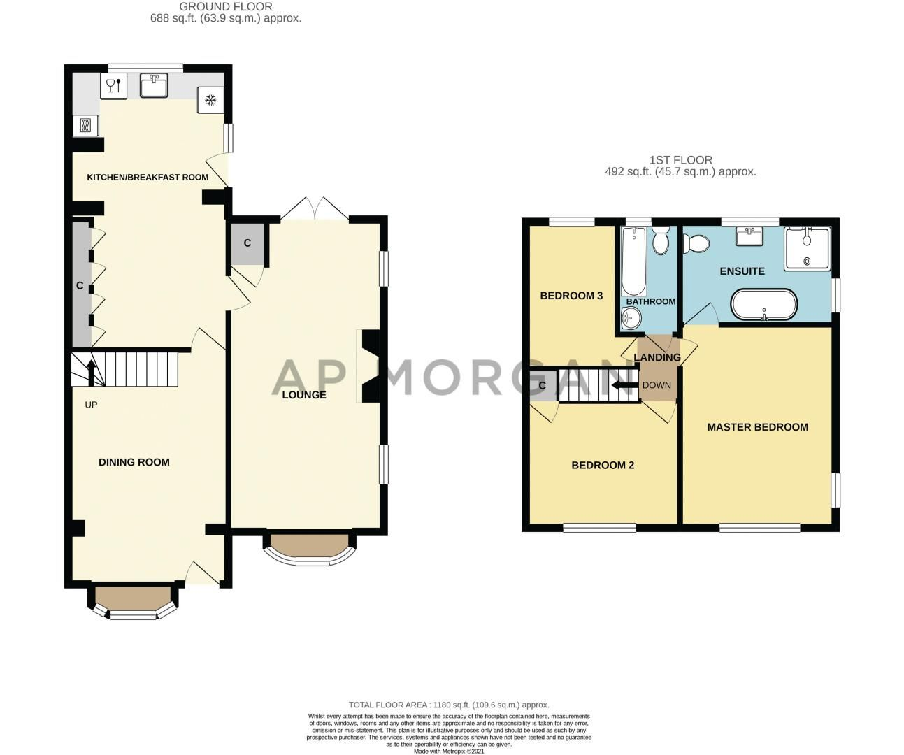 3 bed house for sale in Broadwas Close - Property Floorplan