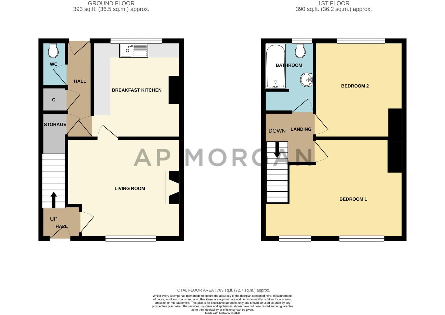 2 bed house for sale in Highfield Crescent - Property Floorplan