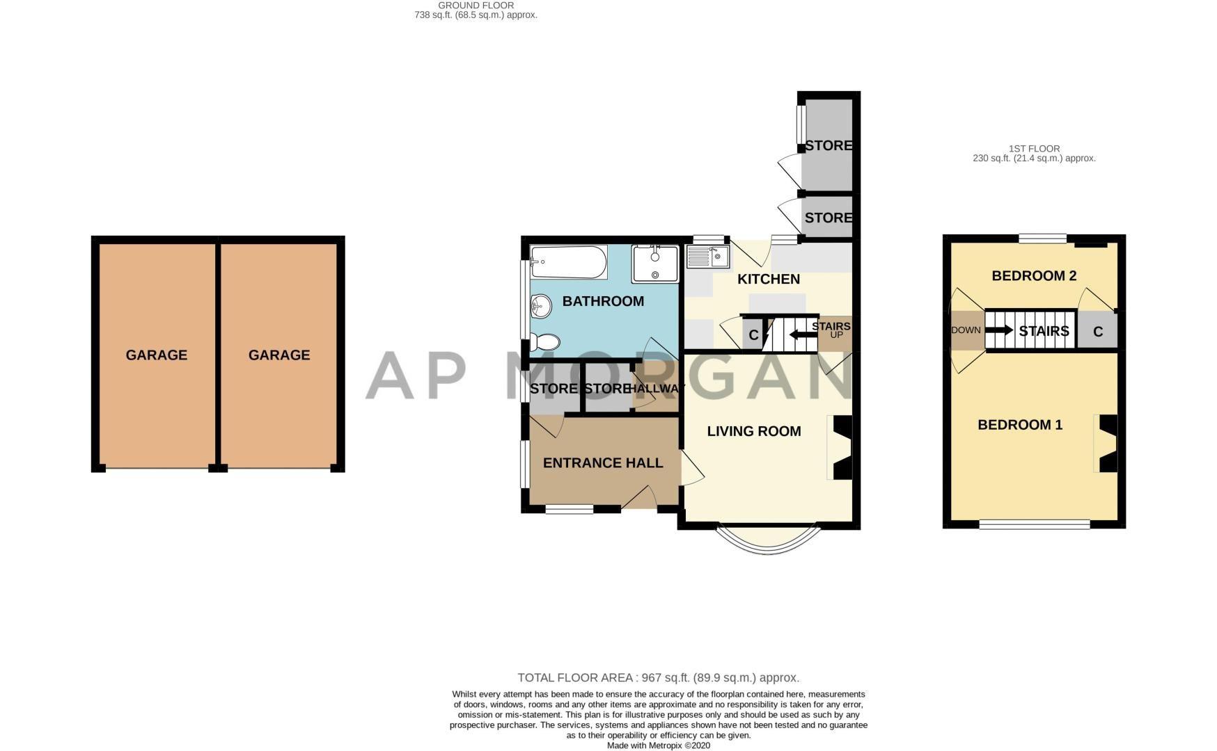 2 bed cottage for sale in Foley Gardens - Property Floorplan