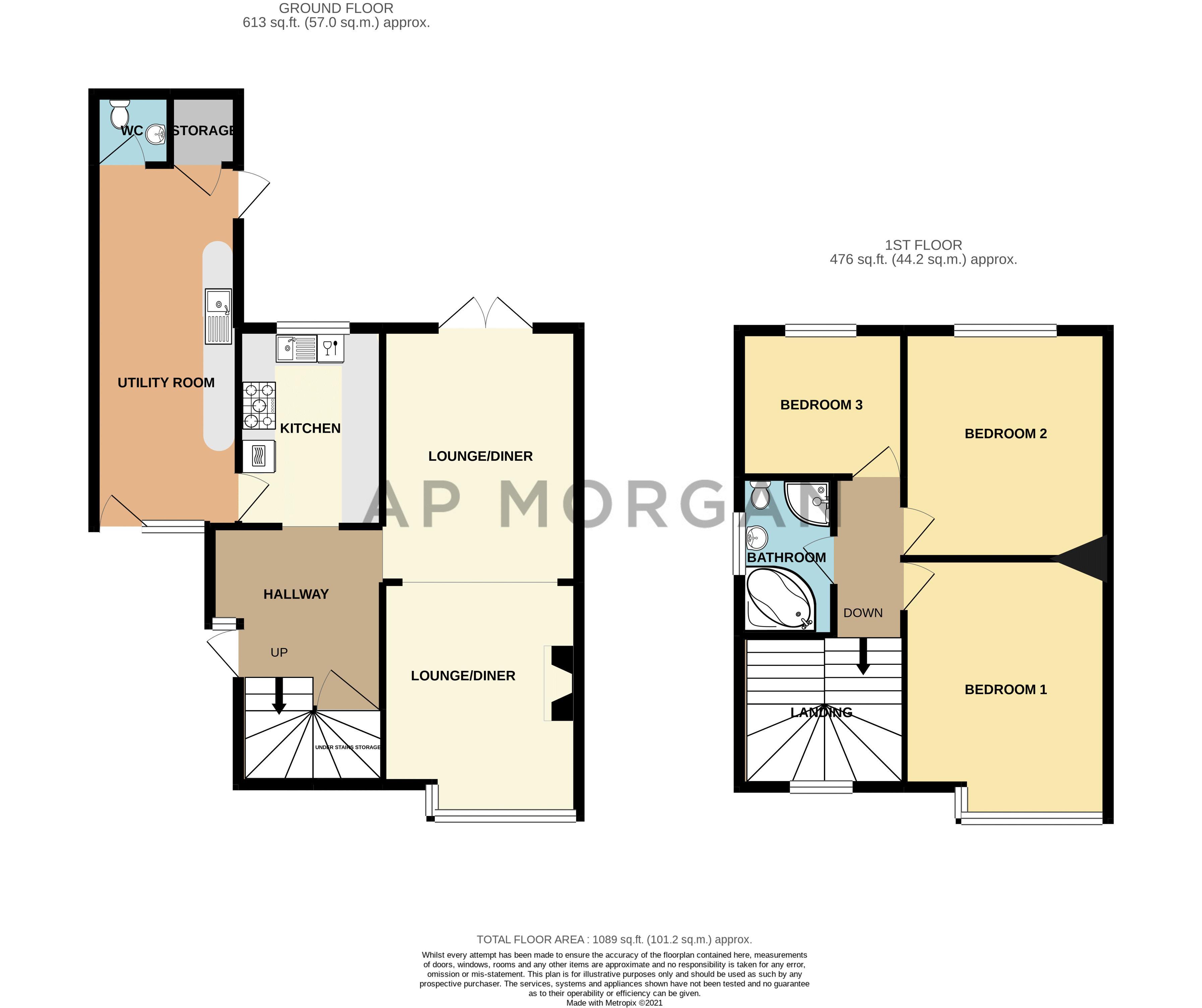 3 bed house for sale in Royal Oak Road - Property Floorplan