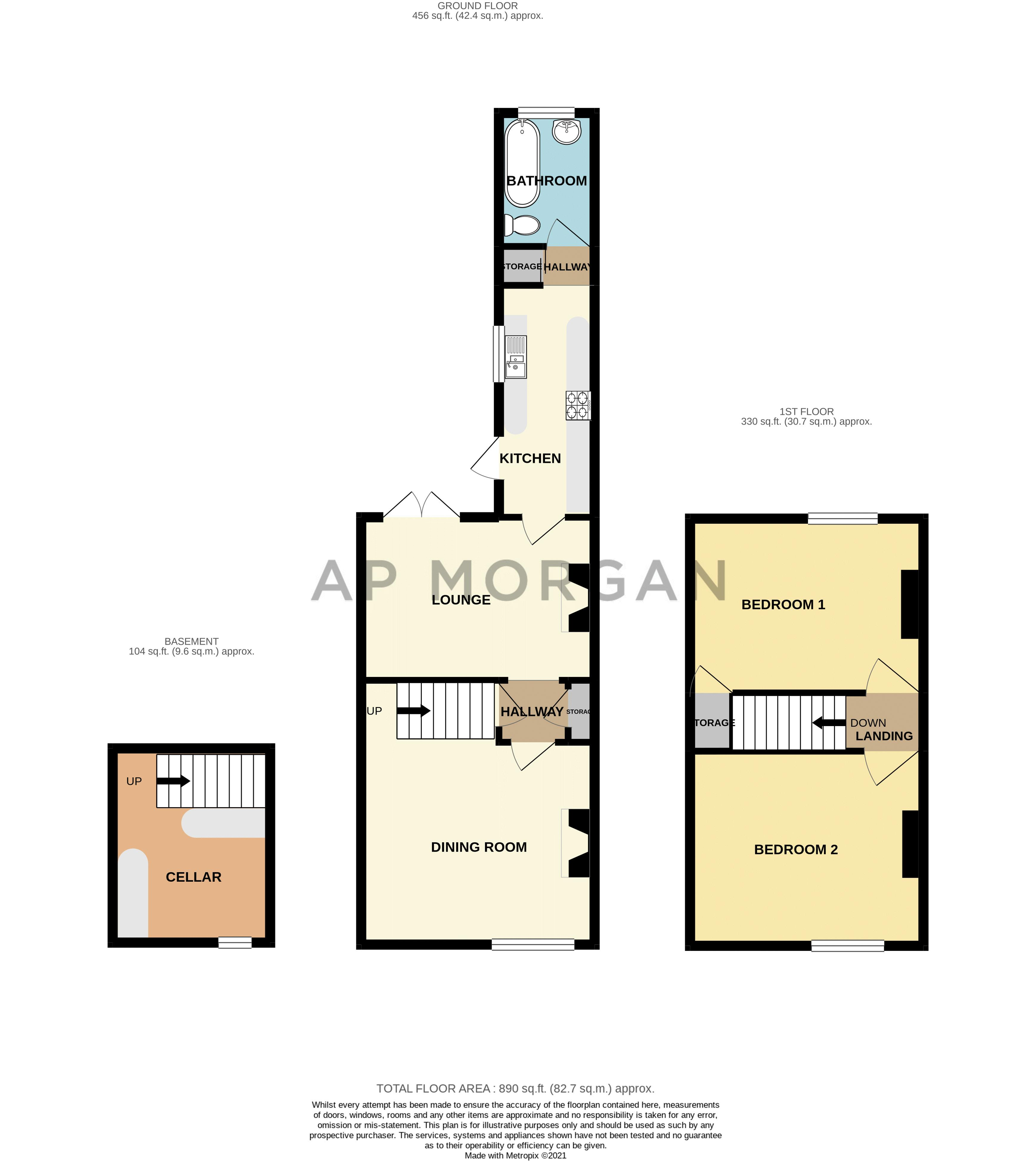 2 bed house for sale in South Road - Property Floorplan