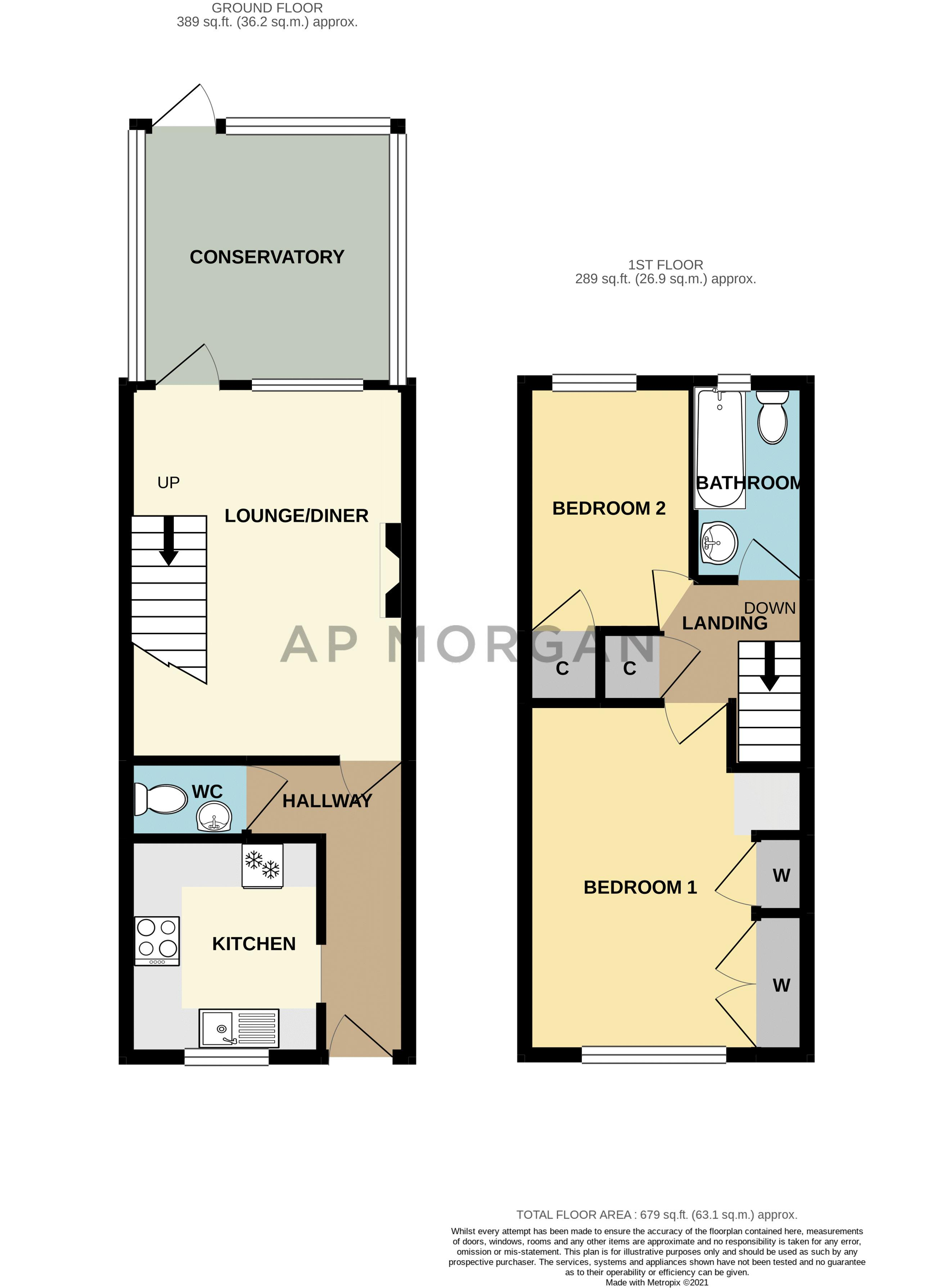 2 bed house for sale in Appletrees Crescent - Property Floorplan