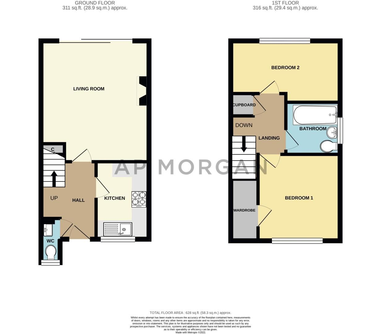 2 bed house for sale in Oakland Grove - Property Floorplan
