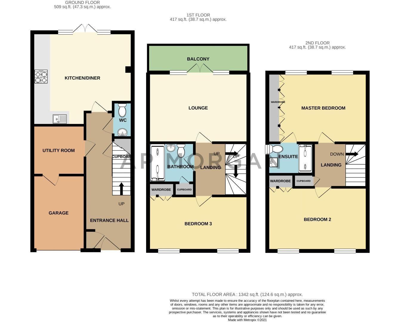 3 bed house for sale in John Corbett Drive - Property Floorplan