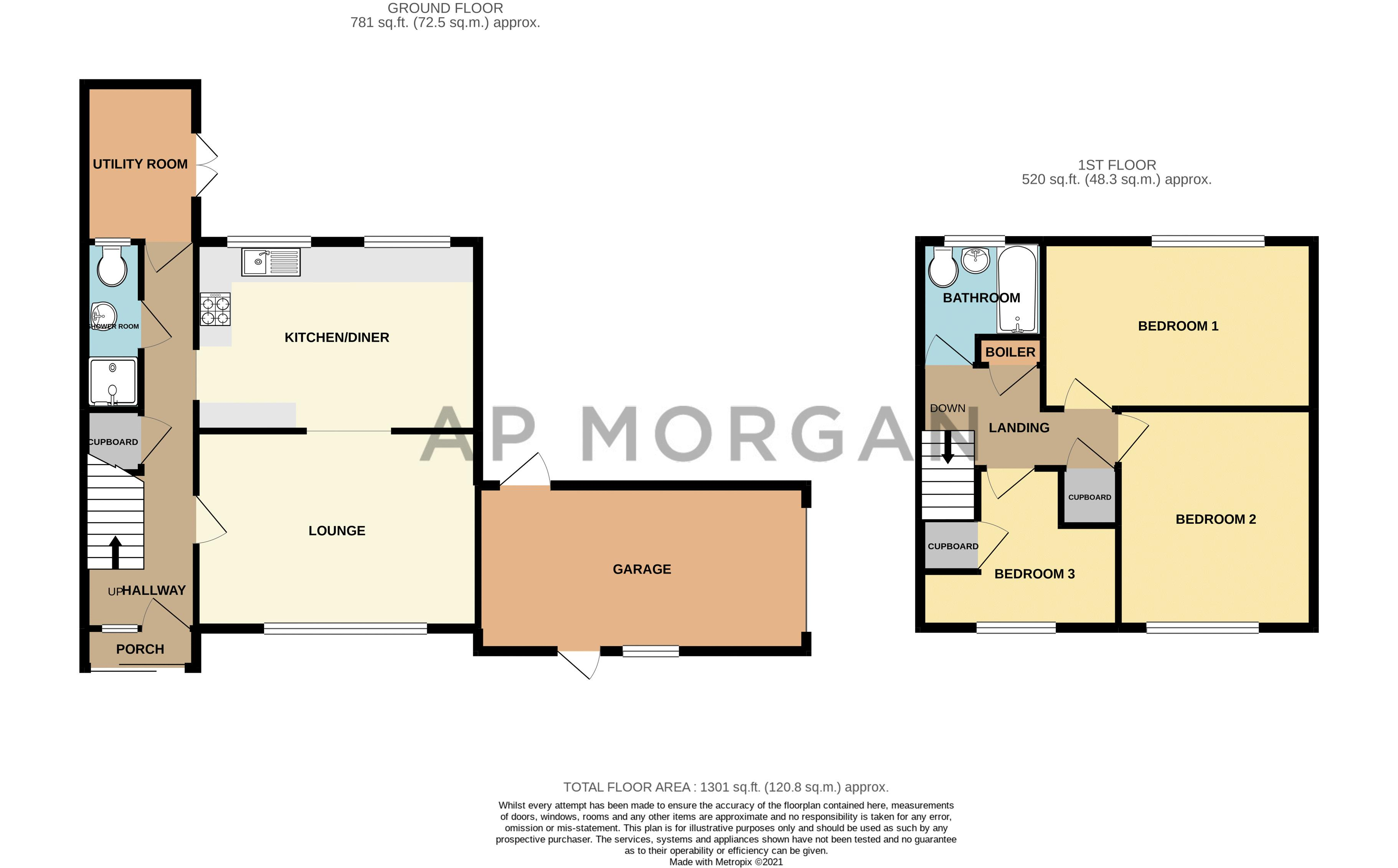 3 bed house for sale in Lingfield Walk - Property Floorplan