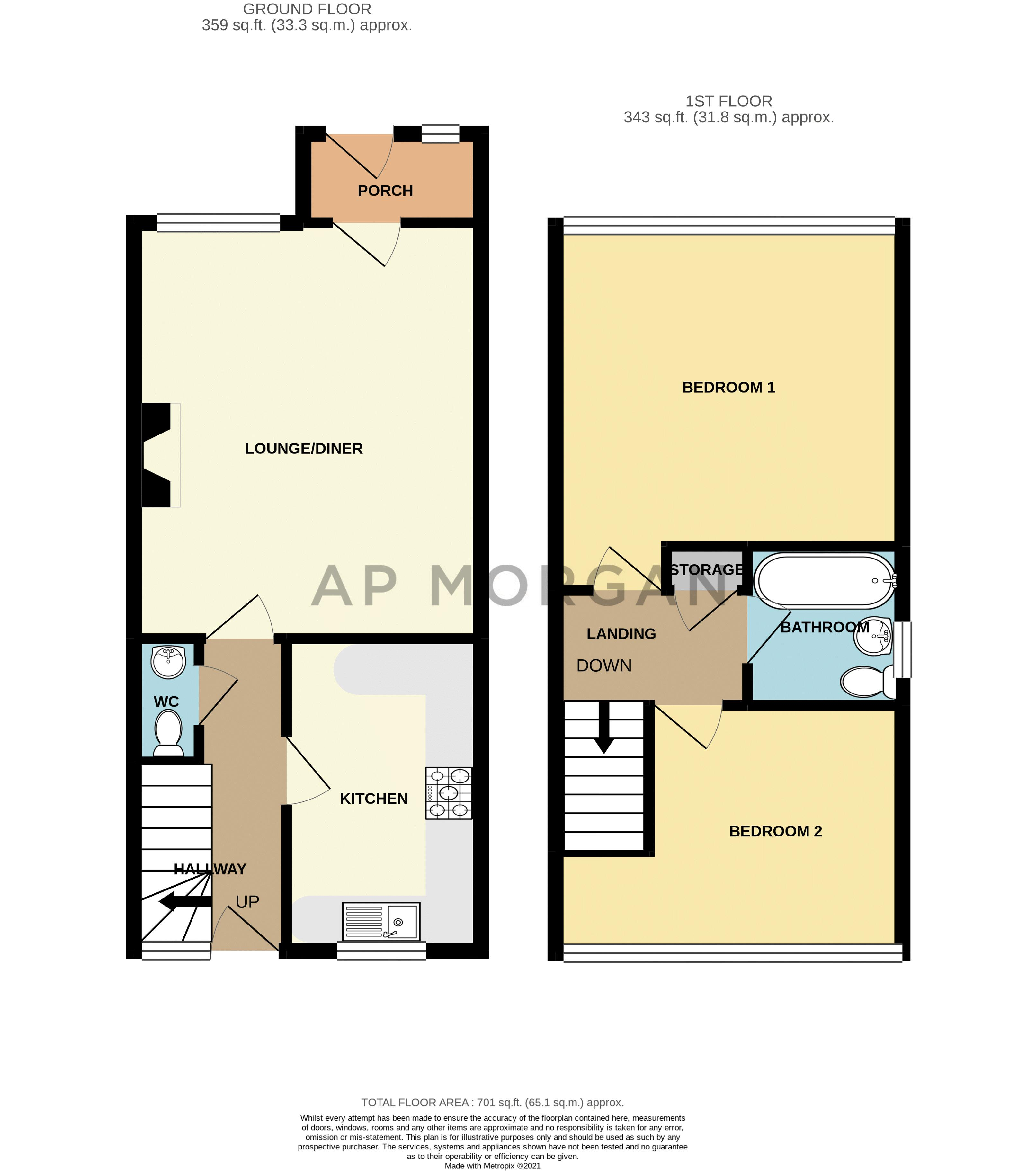 2 bed house for sale in The Dell - Property Floorplan