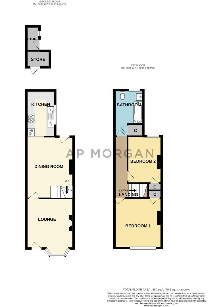 2 bed house for sale in Carlyle Road - Property Floorplan
