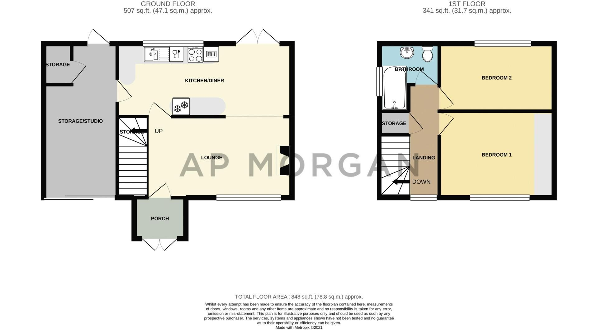 2 bed house for sale in Park Road - Property Floorplan