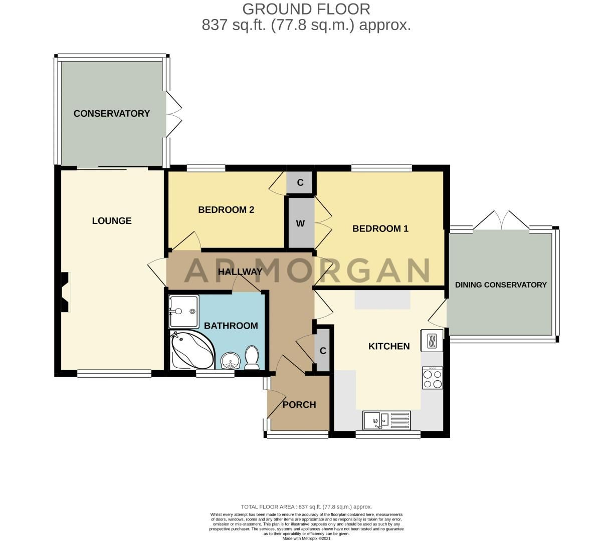 2 bed bungalow for sale in Lincoln Road - Property Floorplan