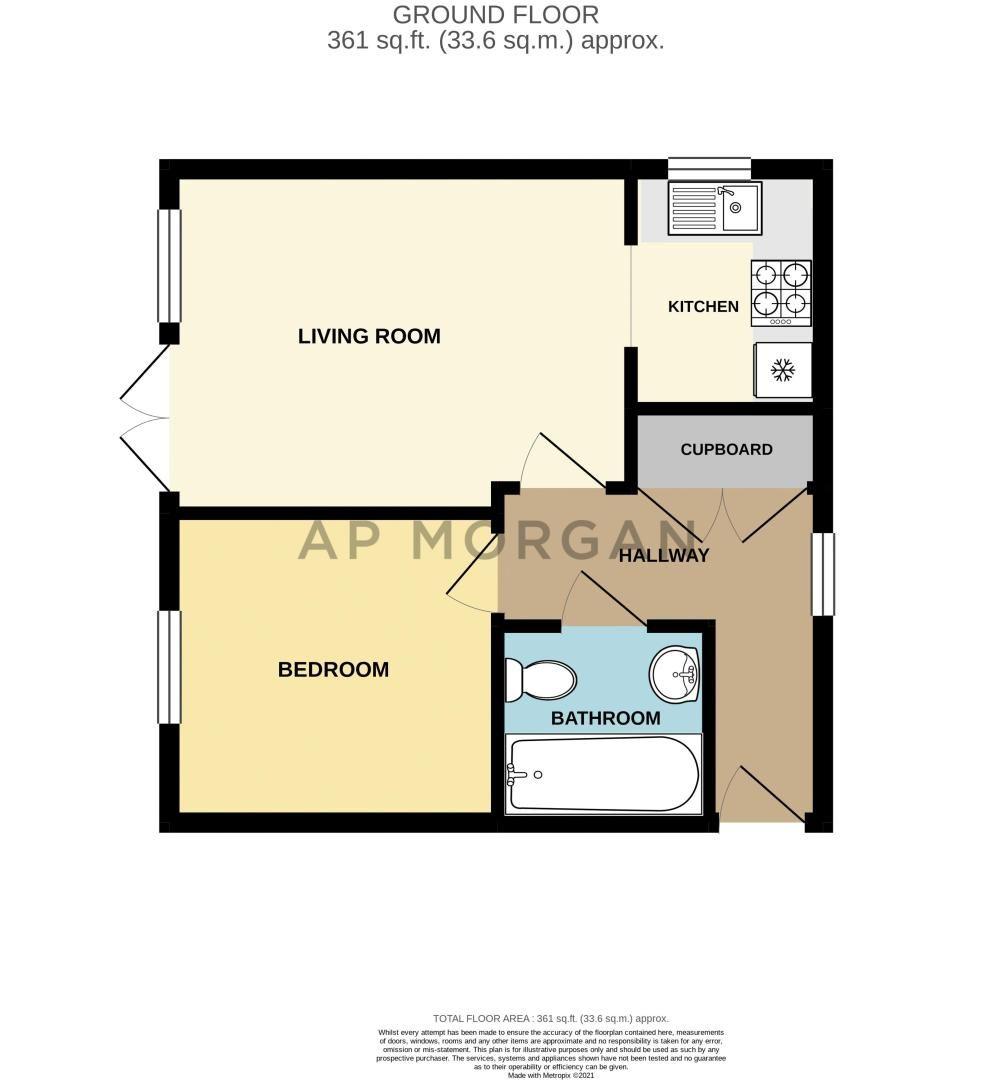 1 bed flat for sale in Worcester Road - Property Floorplan