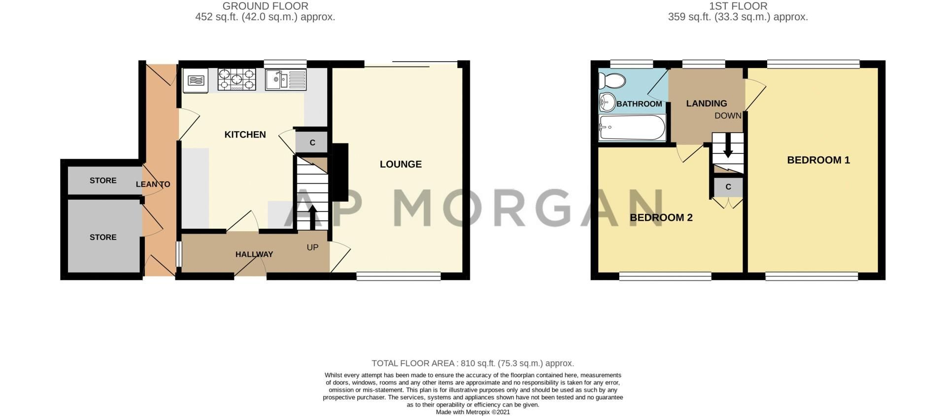 2 bed house for sale in Hewell Avenue - Property Floorplan