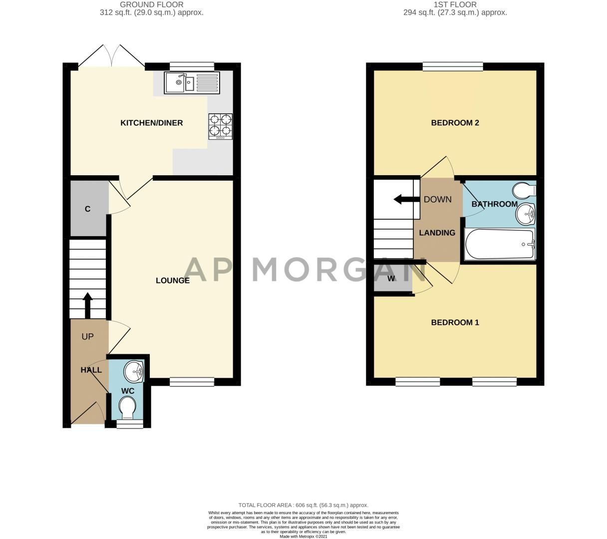 2 bed house for sale in Laceby Close - Property Floorplan