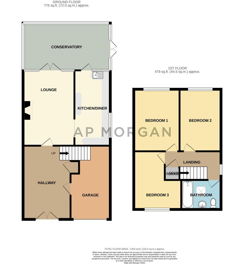 3 bed house for sale in Woodleigh Close - Property Floorplan