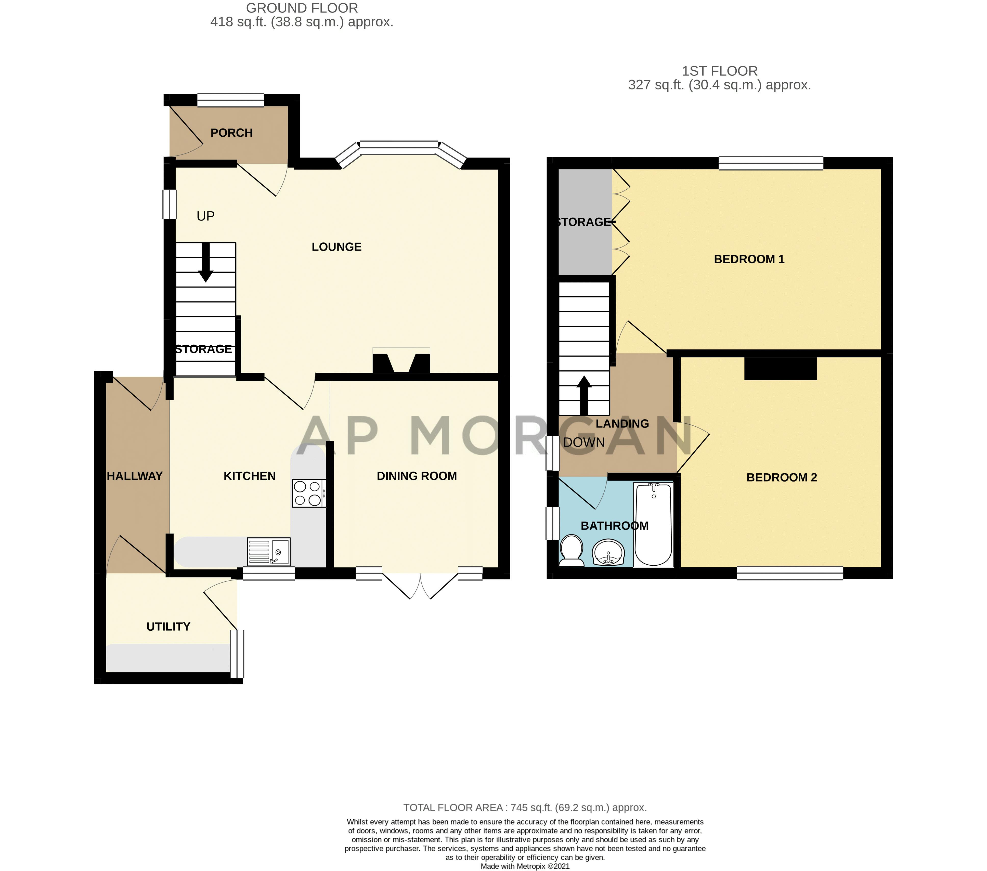2 bed house for sale in Charles Road - Property Floorplan