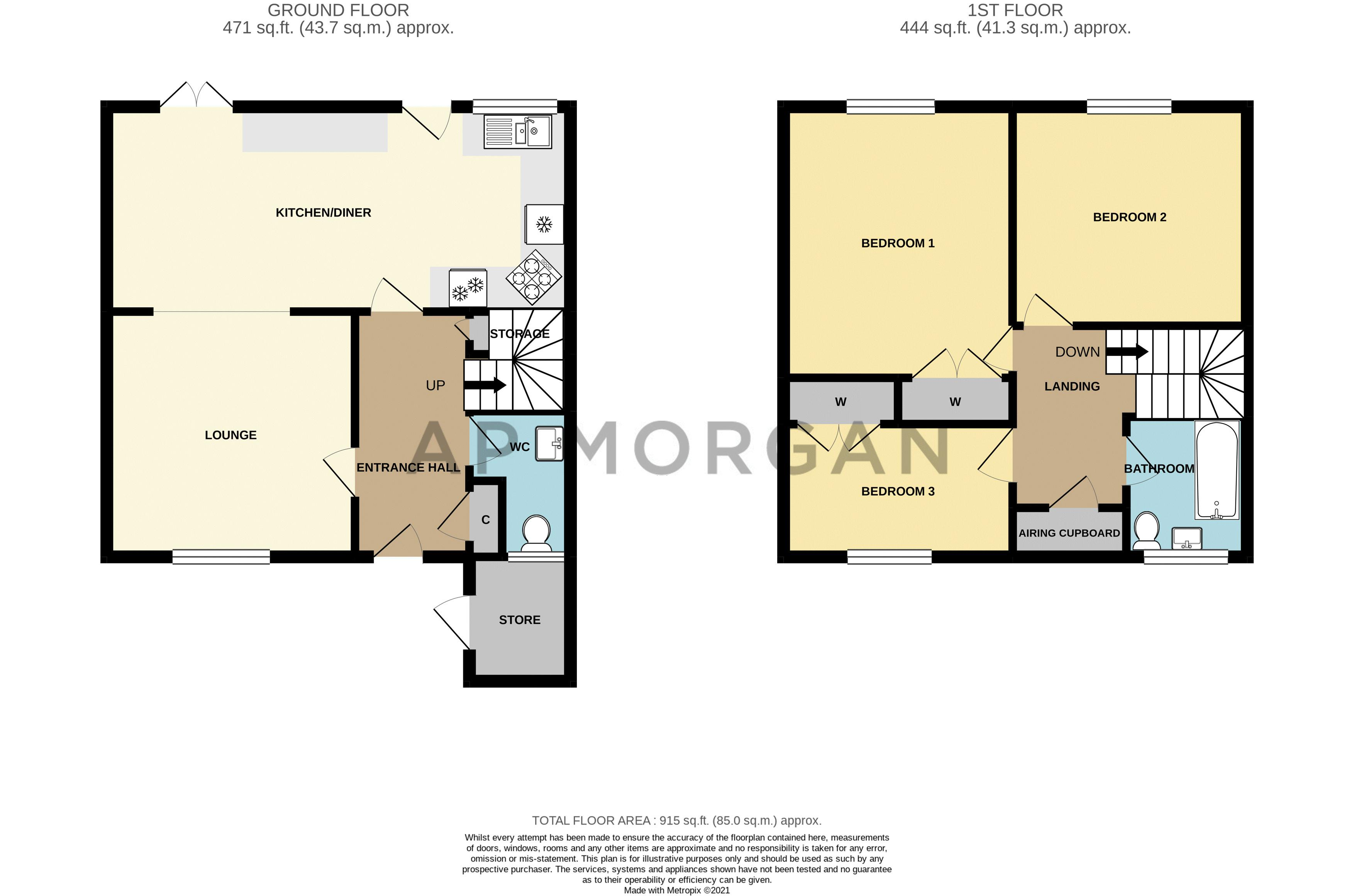 3 bed house for sale in Acton Close - Property Floorplan