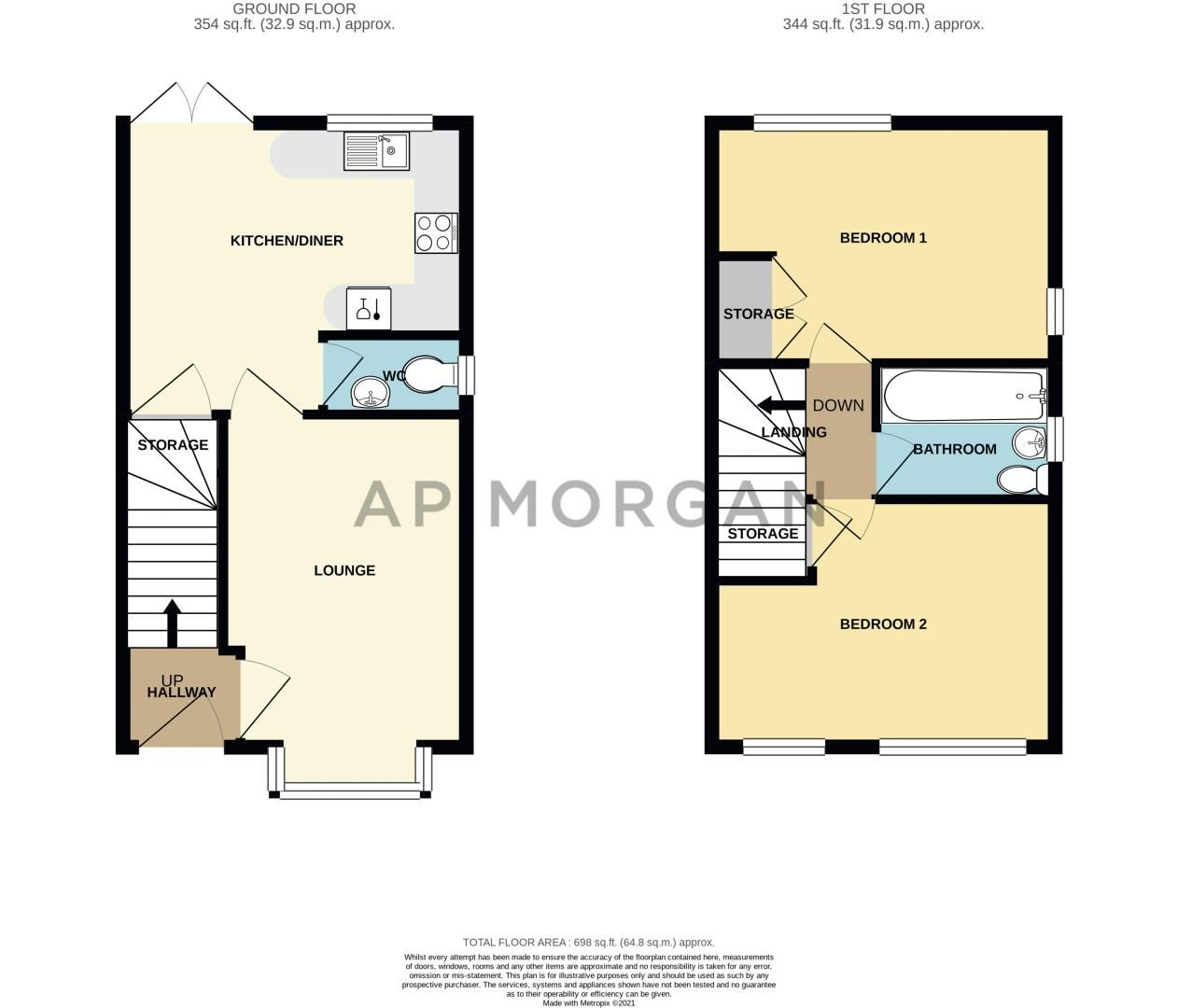 2 bed house for sale in Doulton Road - Property Floorplan