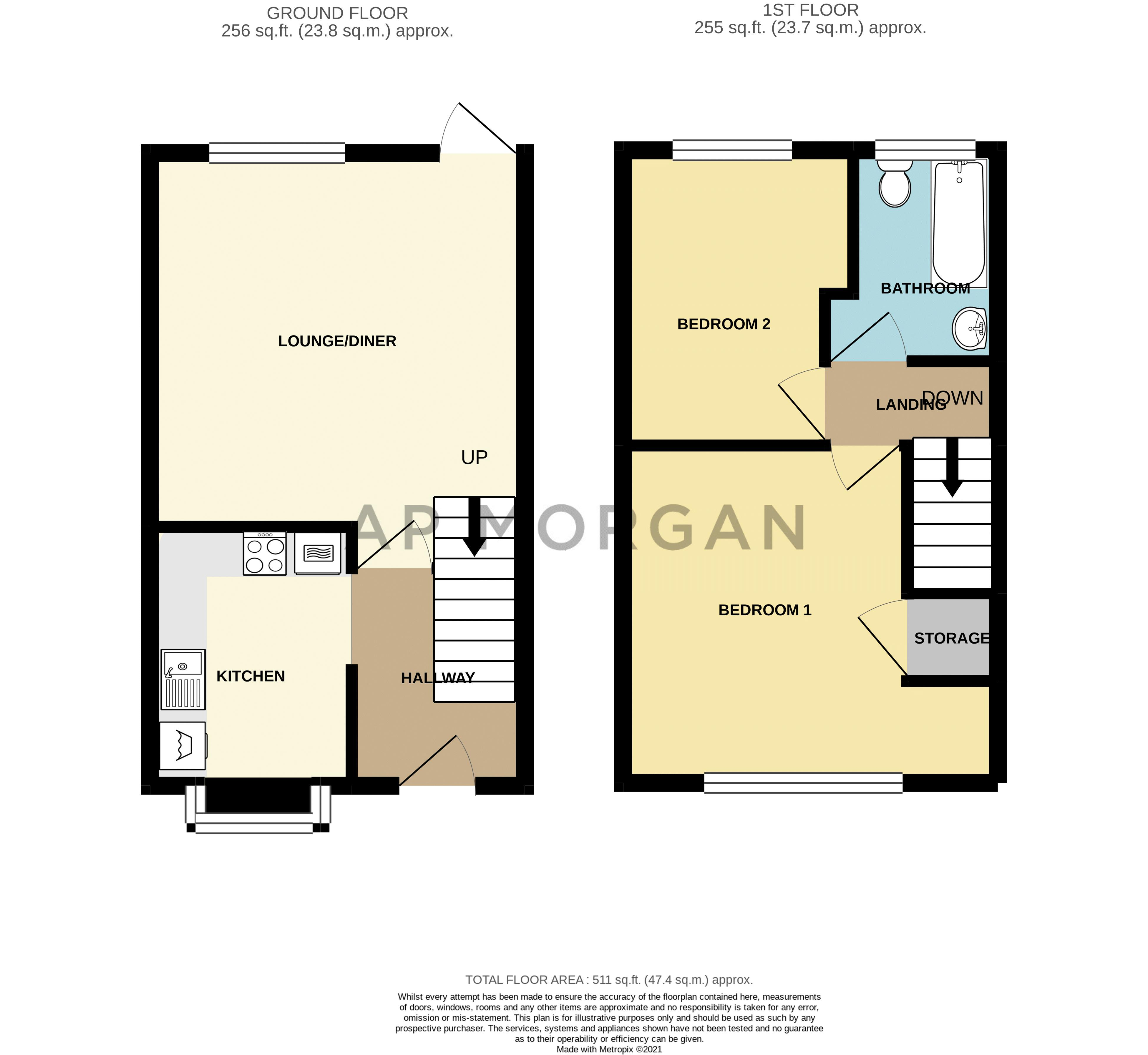 2 bed house for sale in Honeysuckle Close - Property Floorplan