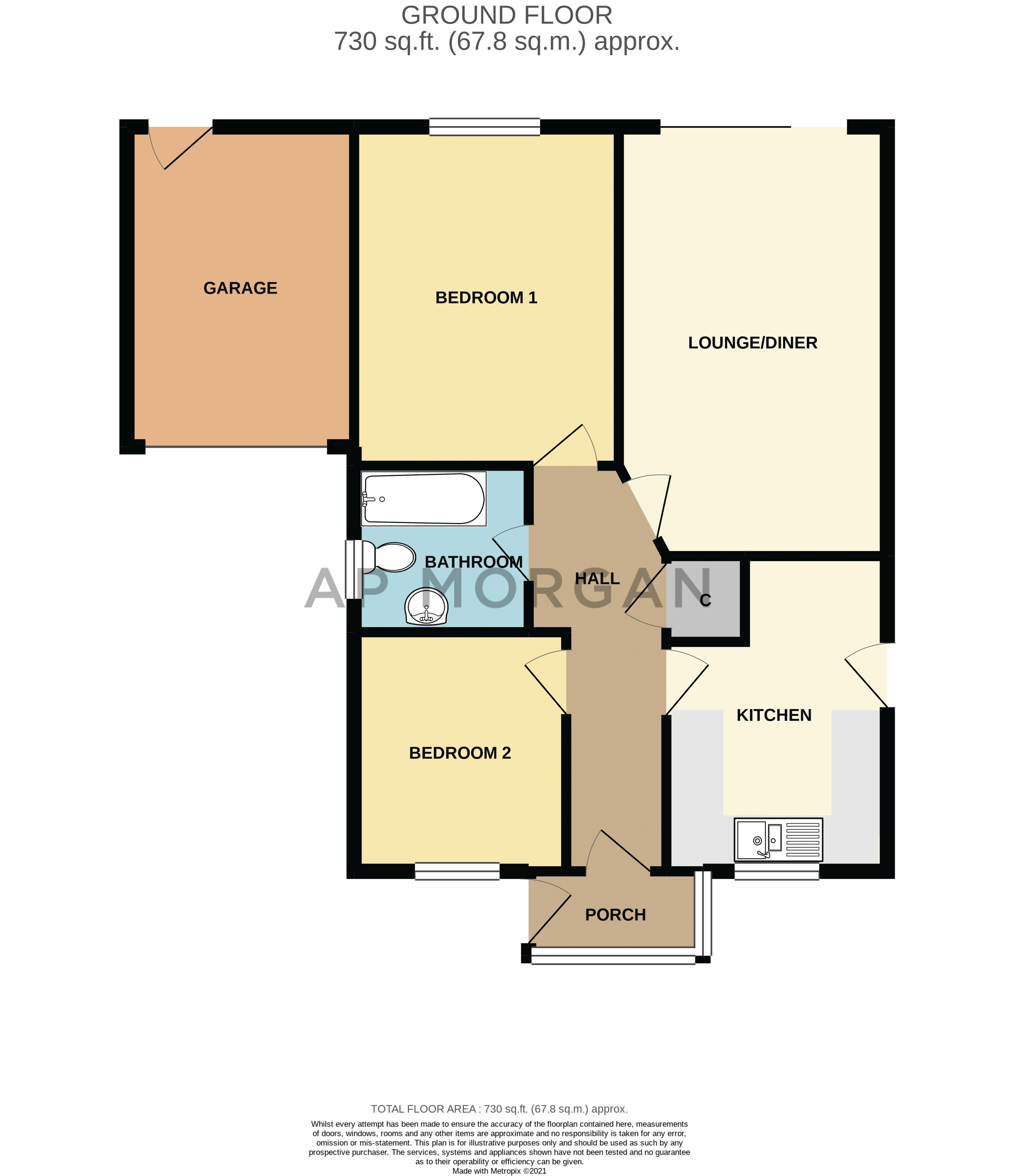 2 bed bungalow for sale in Prophets Close - Property Floorplan