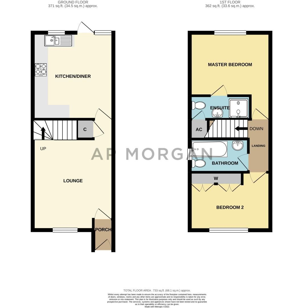 2 bed house for sale in Dewsbury Close - Property Floorplan