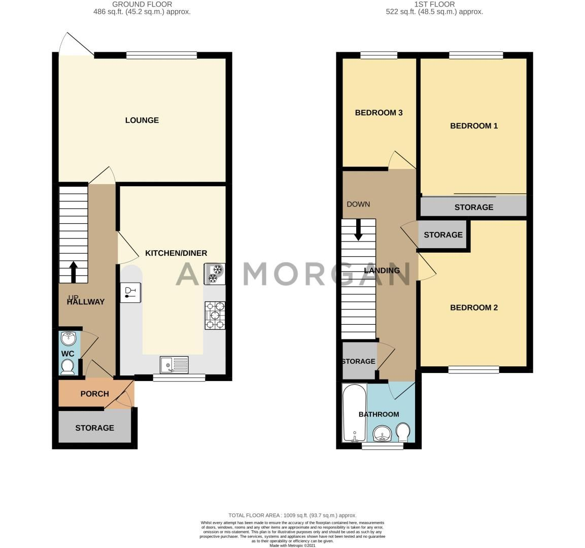 3 bed house for sale in Churchward Close - Property Floorplan