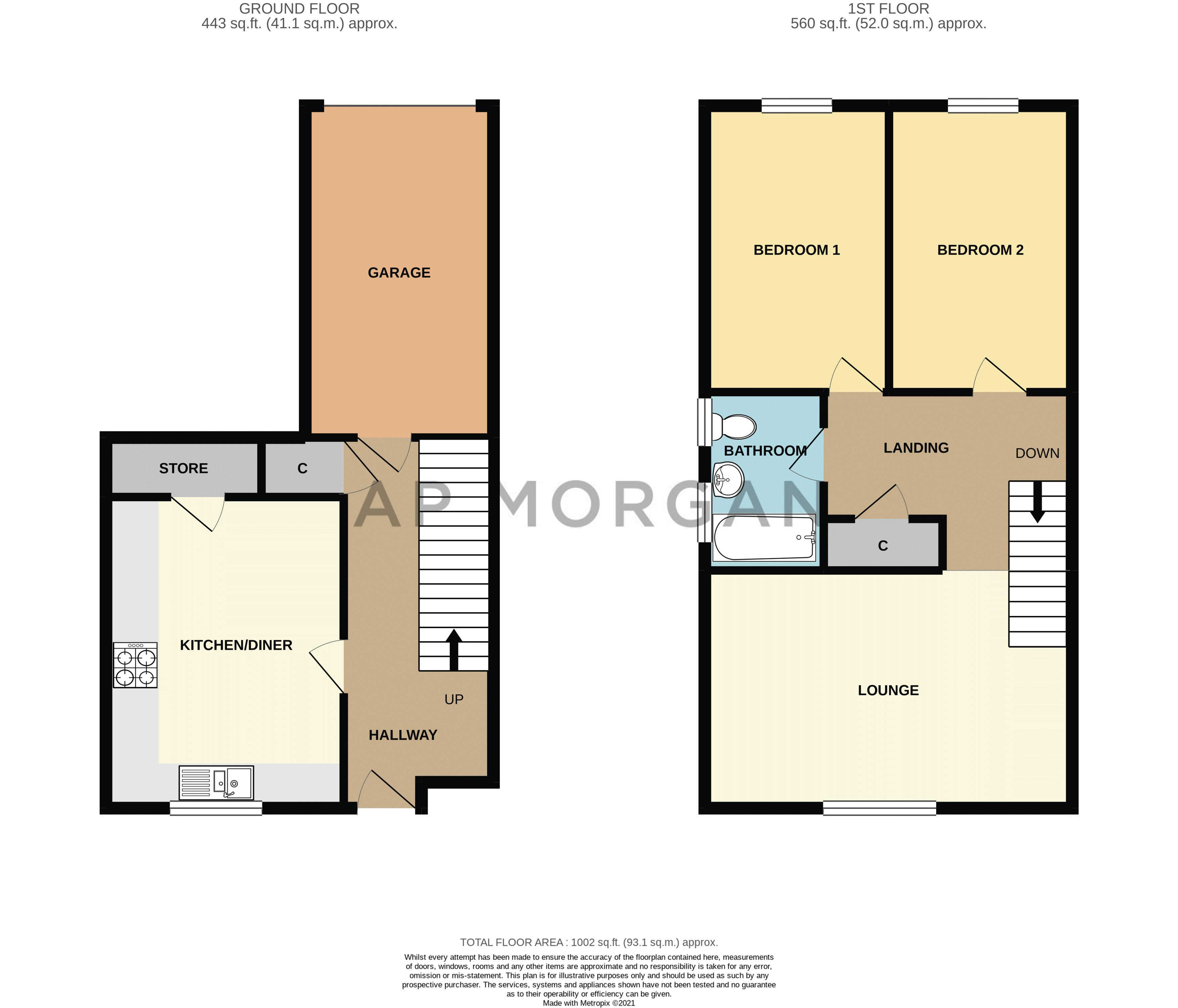 2 bed house for sale in Exhall Close - Property Floorplan