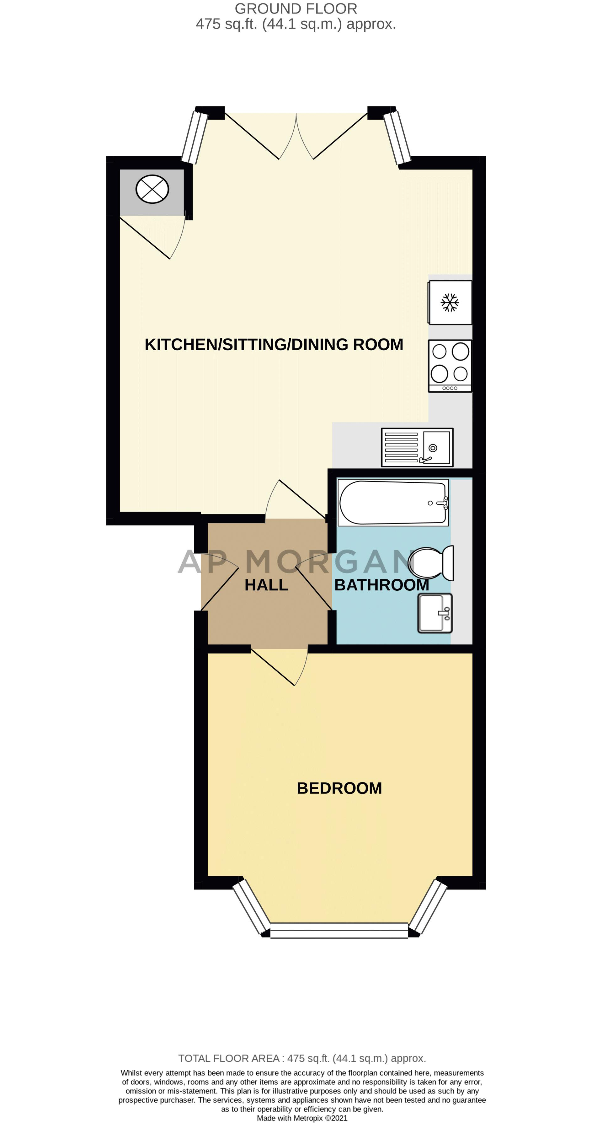 1 bed flat for sale in Hewell Road - Property Floorplan