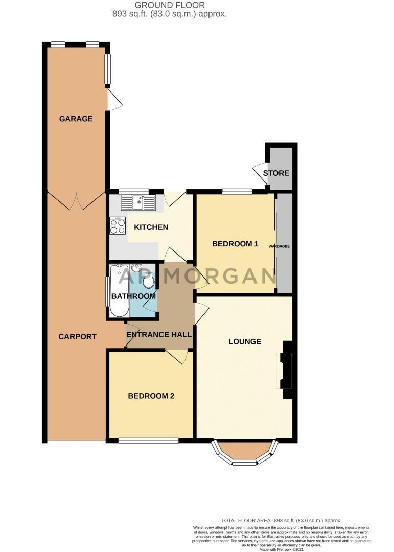 2 bed bungalow for sale in Cedar Close - Property Floorplan