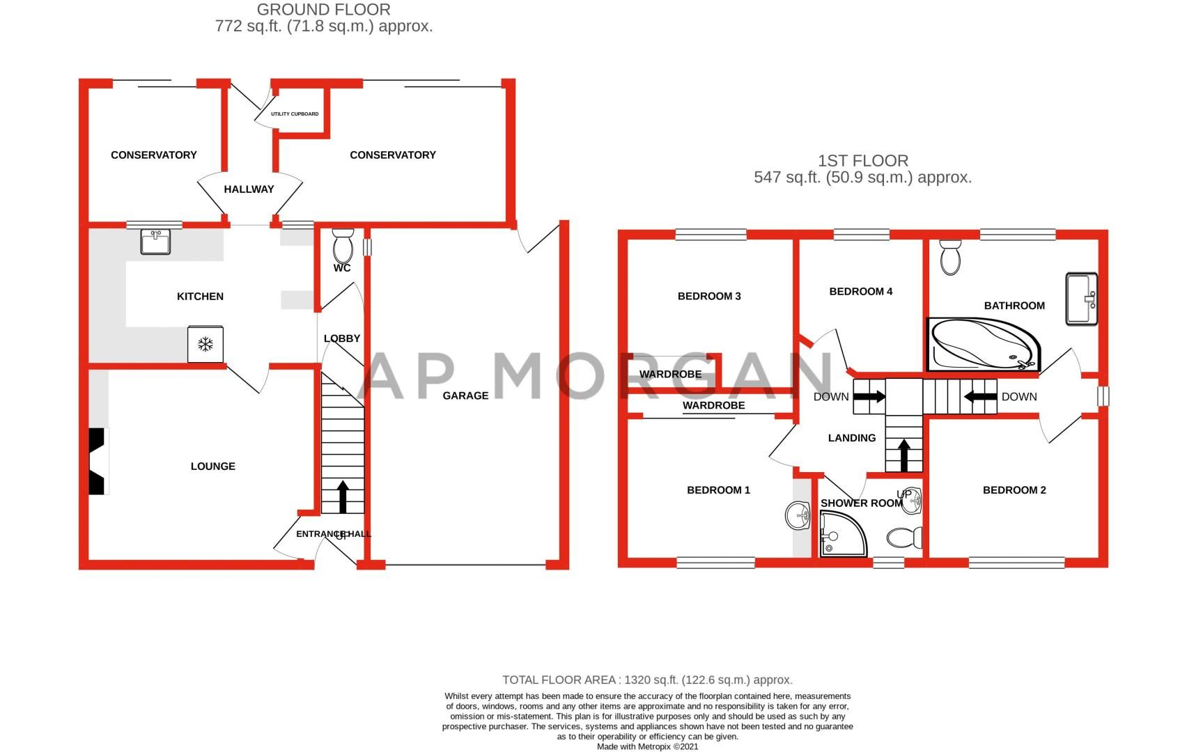 4 bed house for sale in Churchfields Close - Property Floorplan
