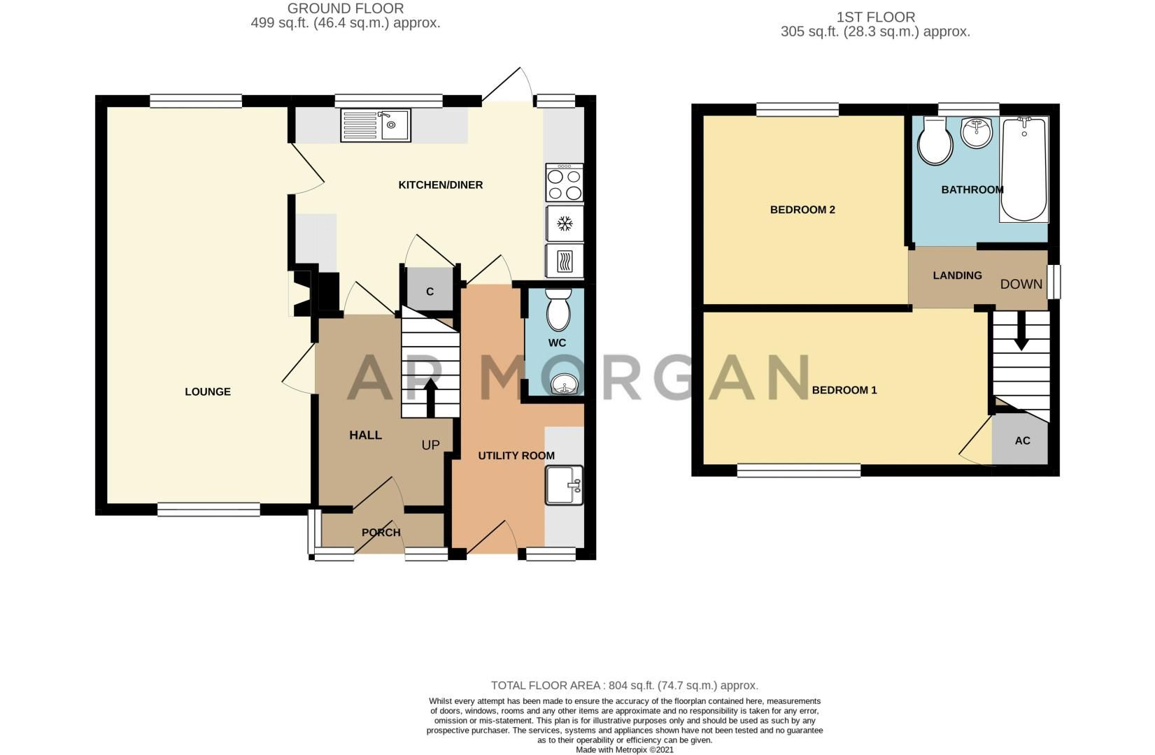 2 bed house for sale in Prior Avenue - Property Floorplan