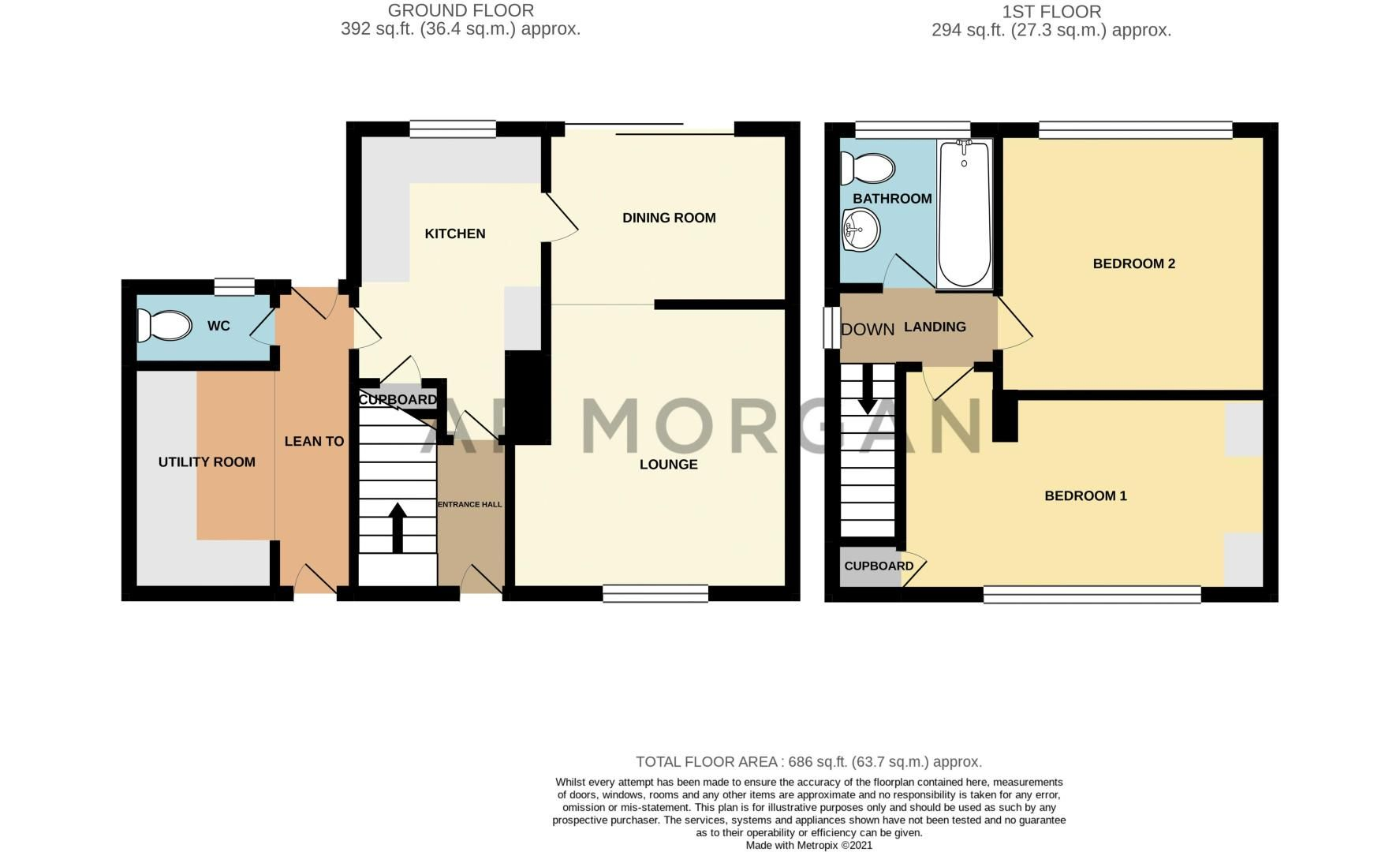 2 bed house for sale in Bramble Green - Property Floorplan