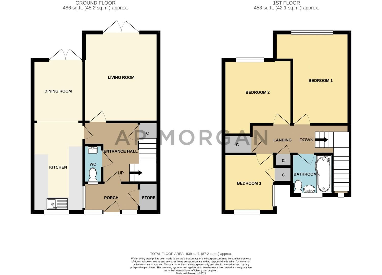 3 bed house for sale in Linton Close - Property Floorplan