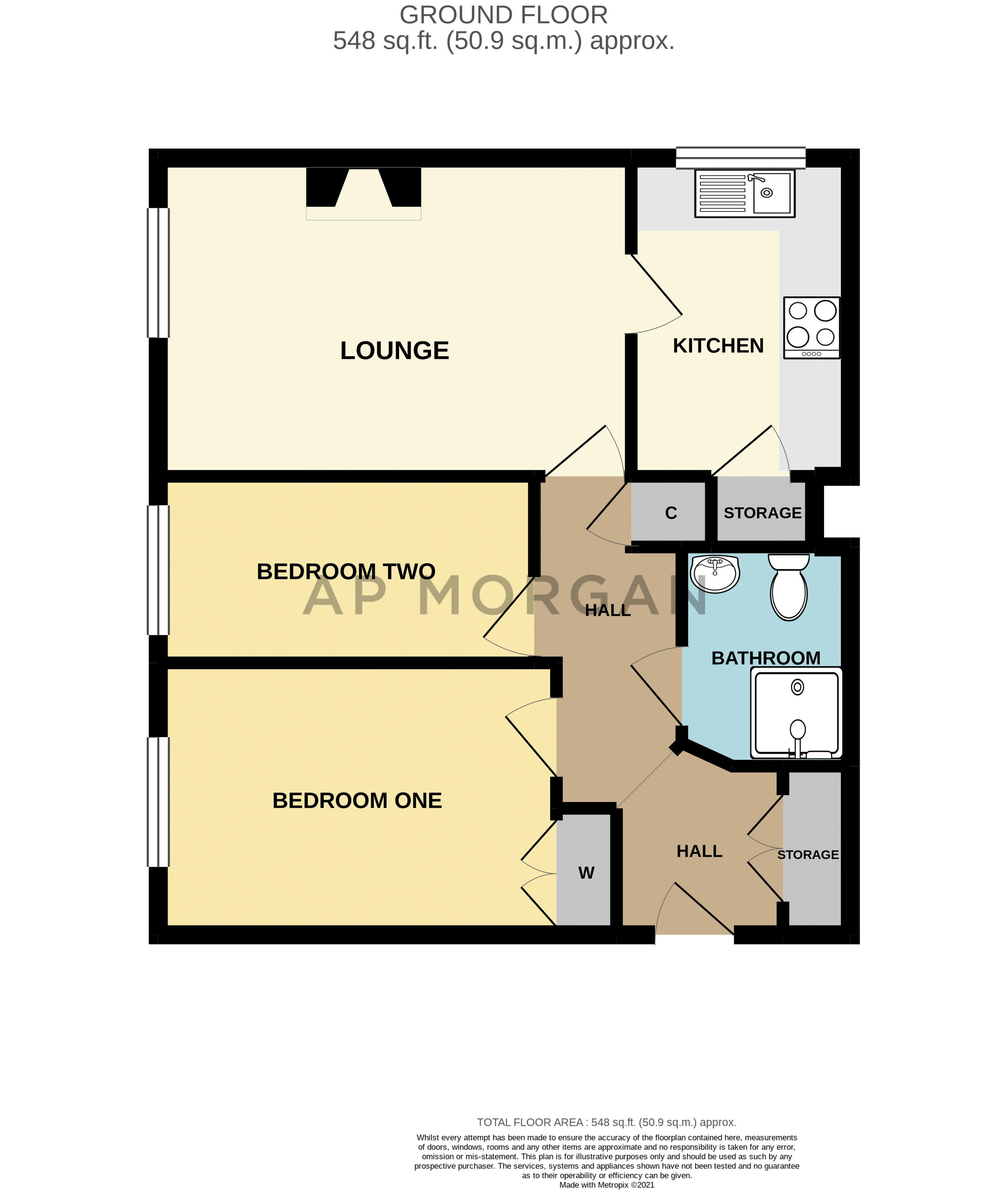 2 bed flat for sale in The Crescent - Property Floorplan