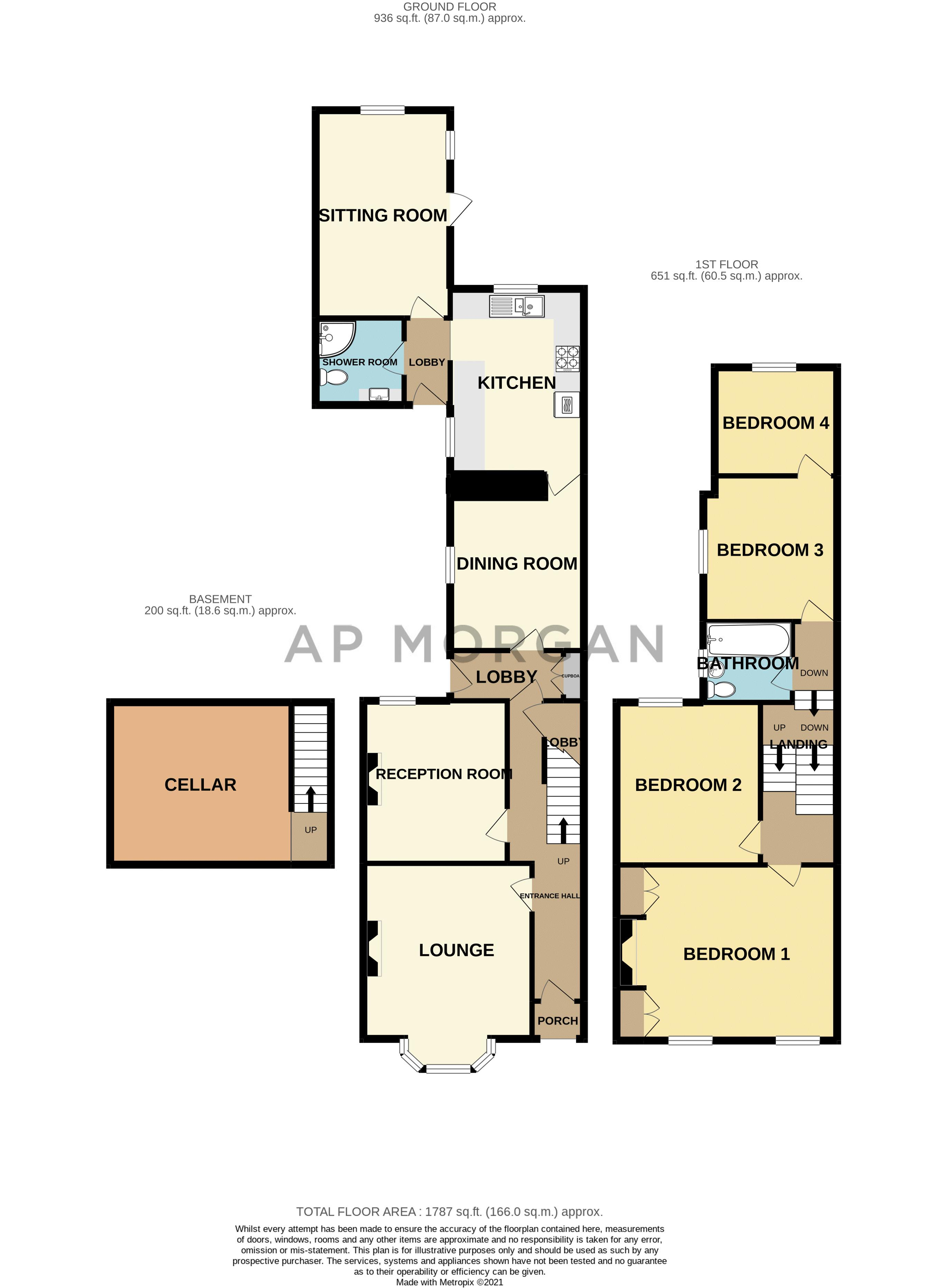 4 bed house for sale in Clifton Street - Property Floorplan