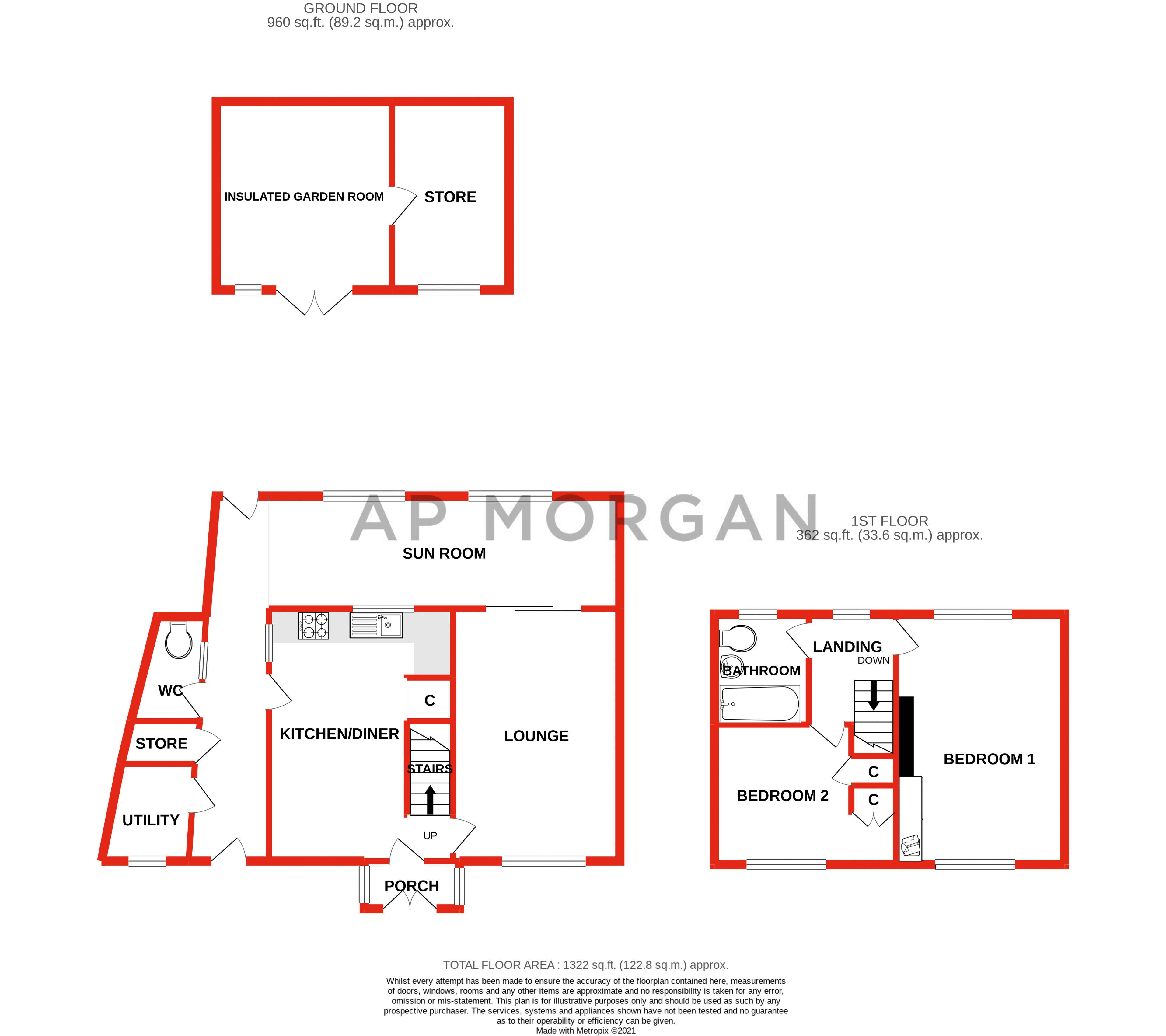 2 bed house for sale in Grafton Crescent - Property Floorplan