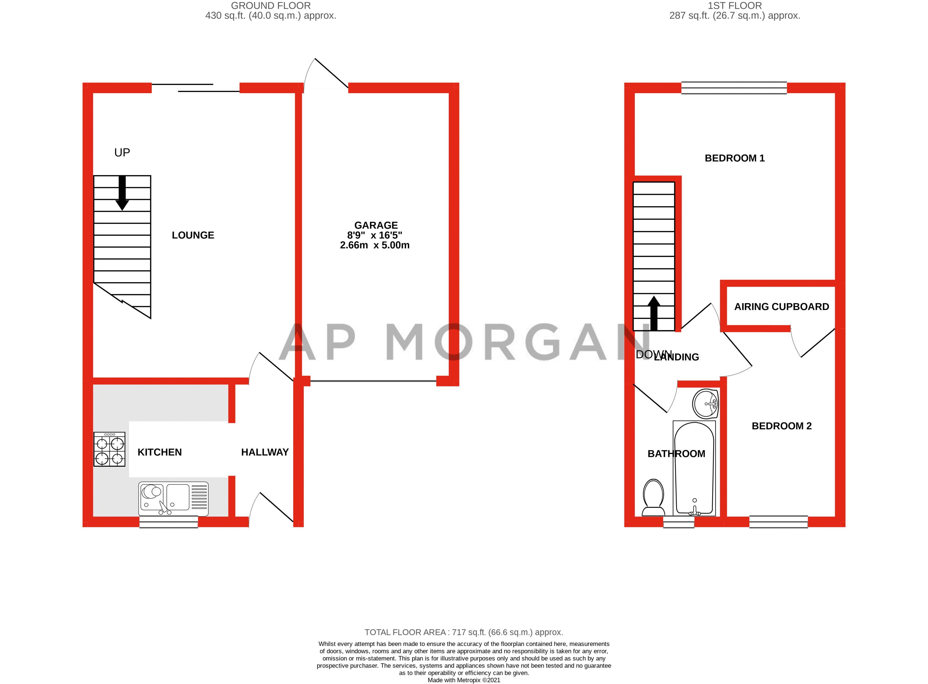 2 bed house for sale in Mill Brook Drive - Property Floorplan