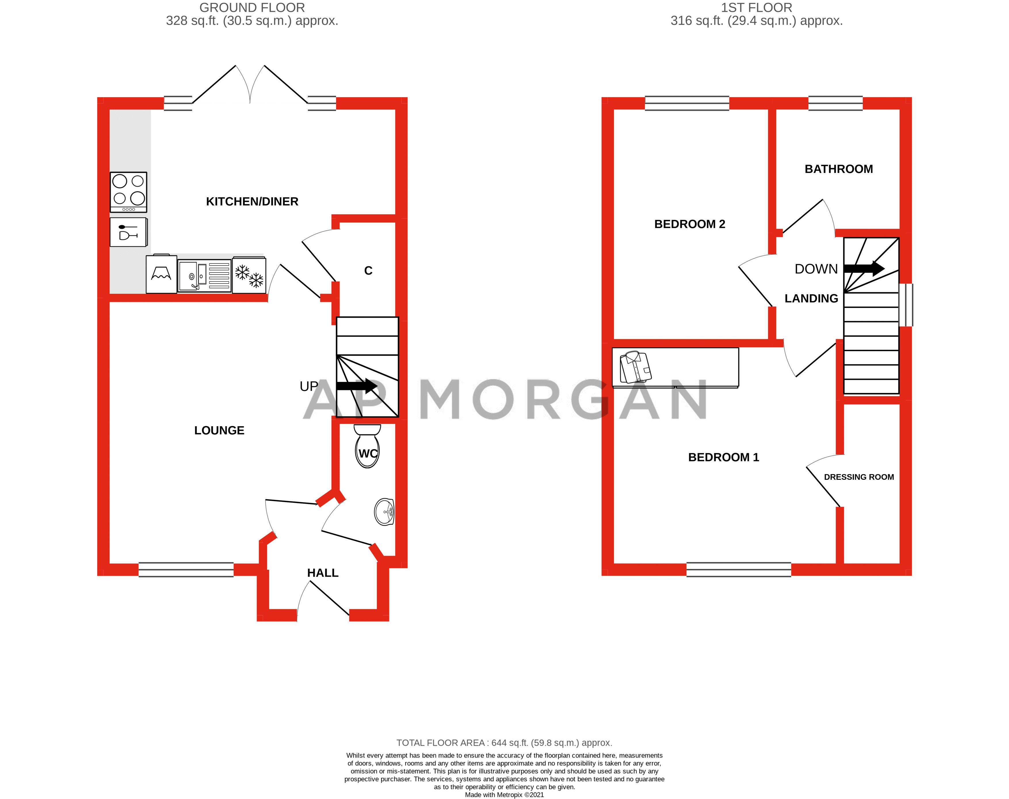 2 bed house for sale in Swallows Close - Property Floorplan