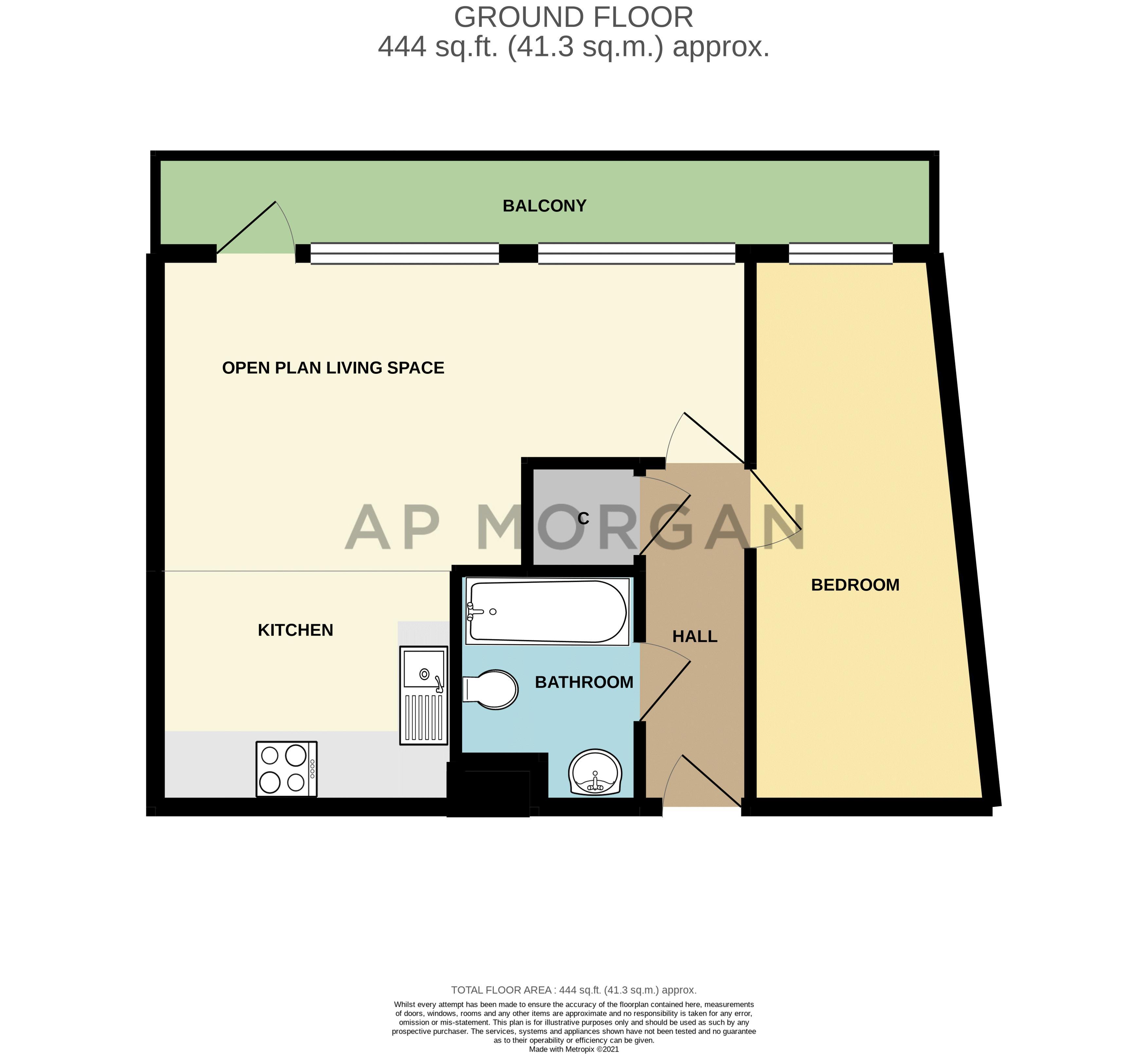 1 bed flat for sale in Warwick Street - Property Floorplan