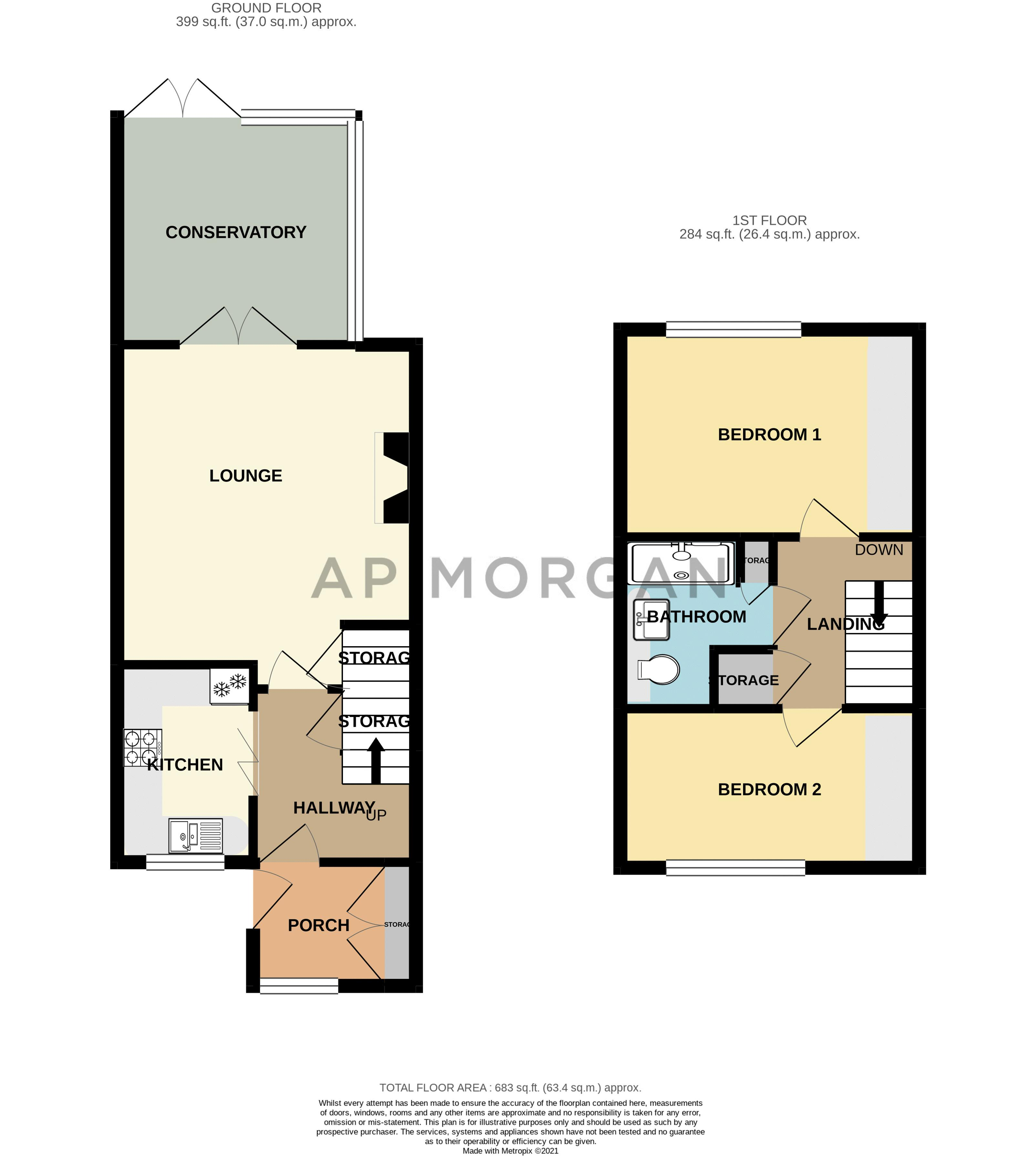 2 bed house for sale in Hoosen Close - Property Floorplan