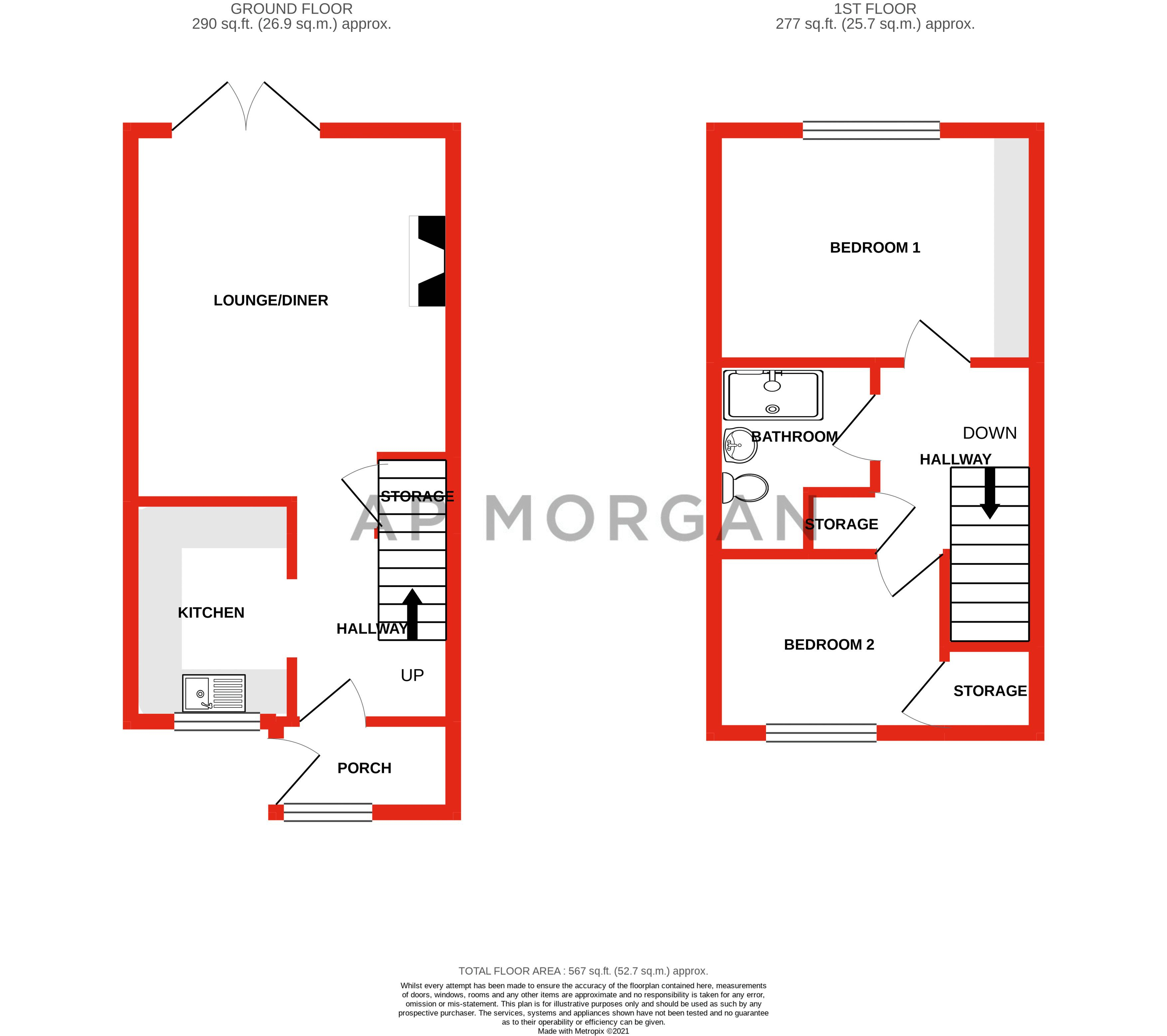 2 bed house for sale in Chantry Drive - Property Floorplan
