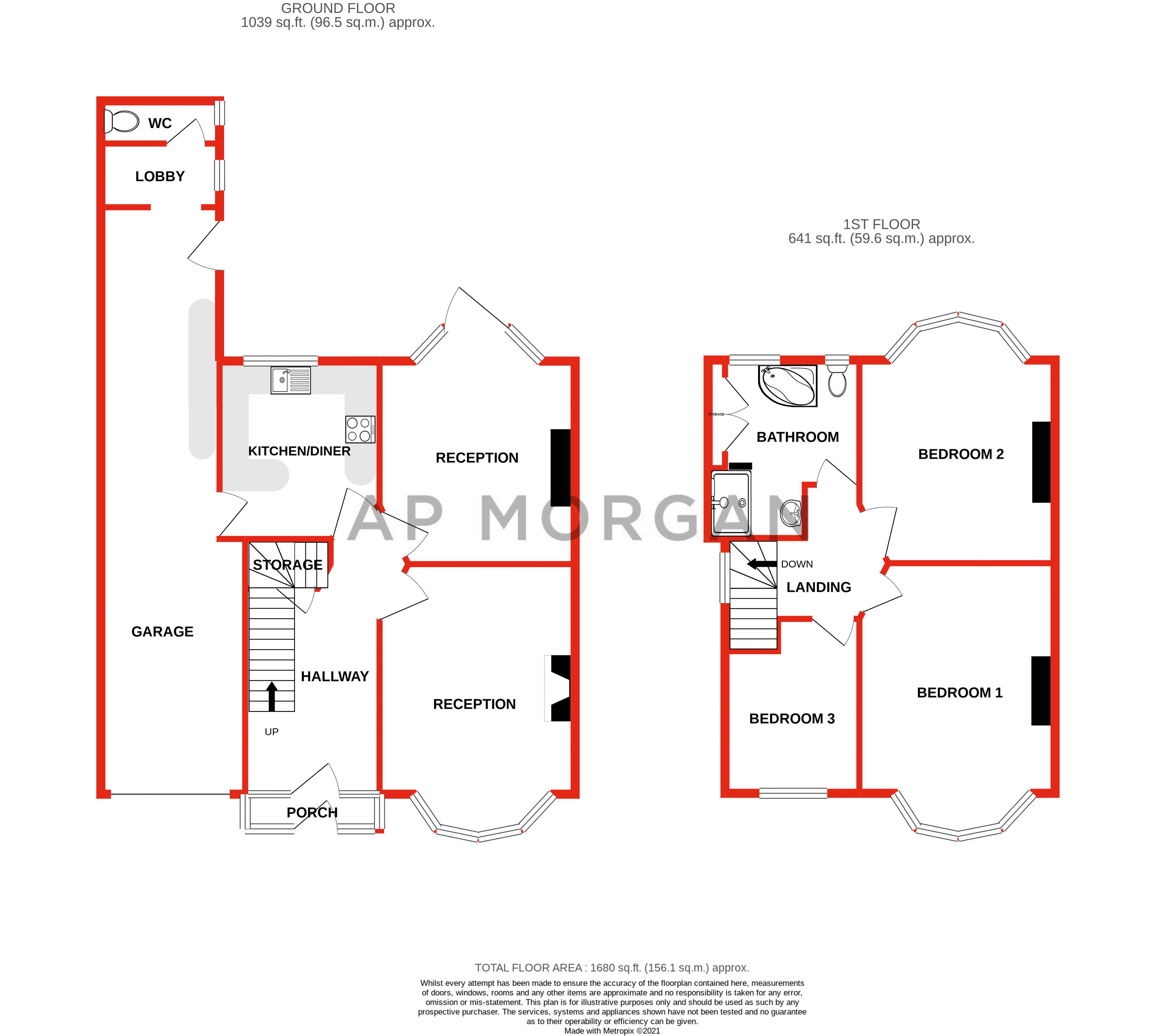 3 bed house for sale in Willow Avenue - Property Floorplan