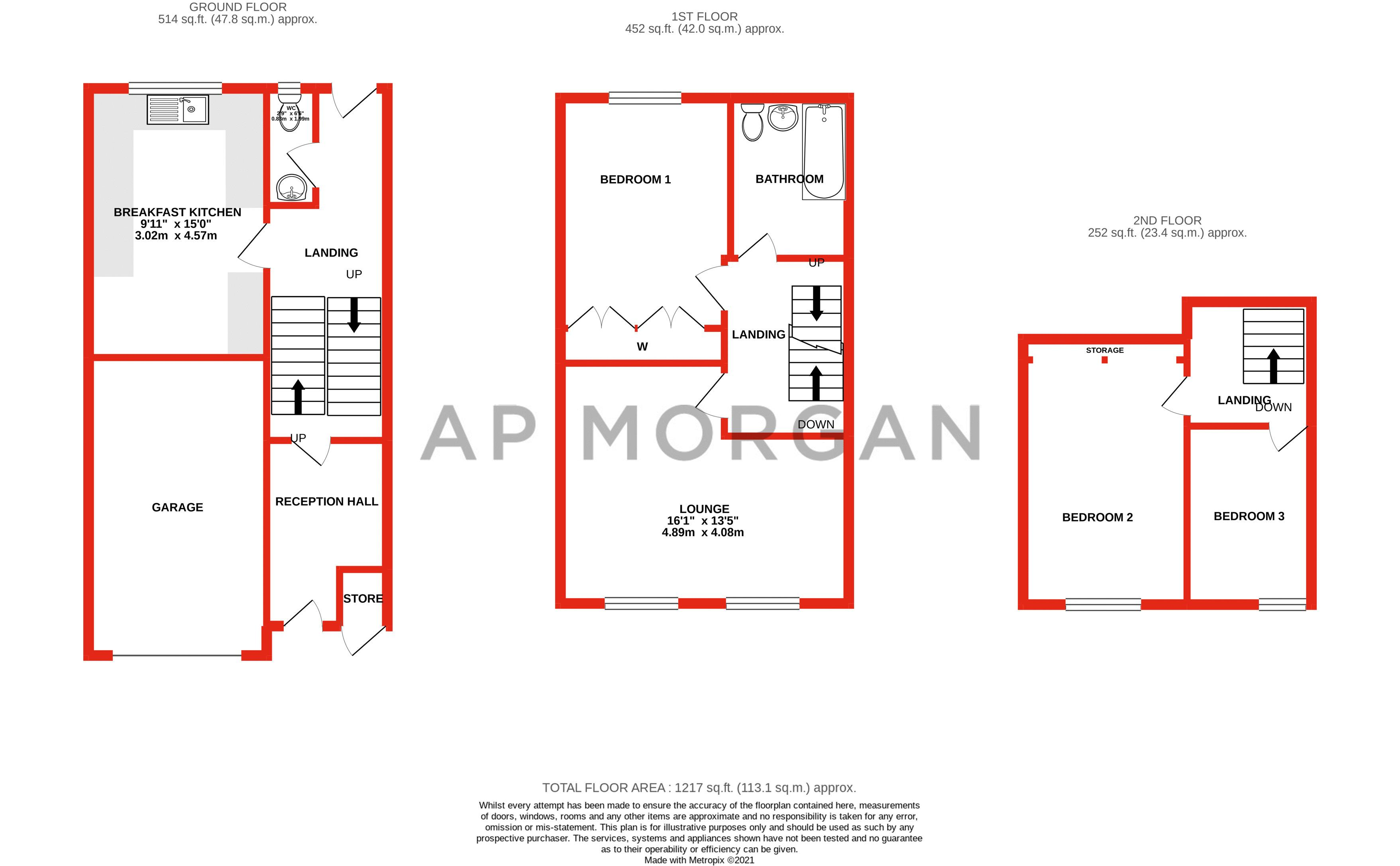 3 bed house for sale in Old Crest Avenue - Property Floorplan