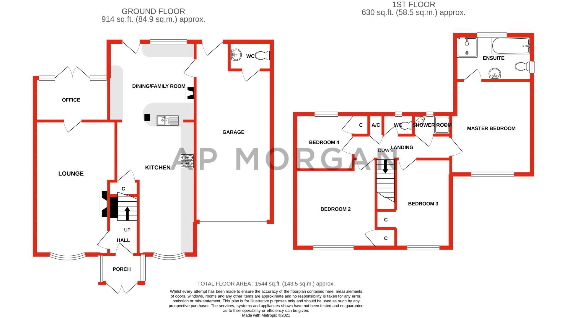 4 bed house for sale in Skiddaw Close - Property Floorplan