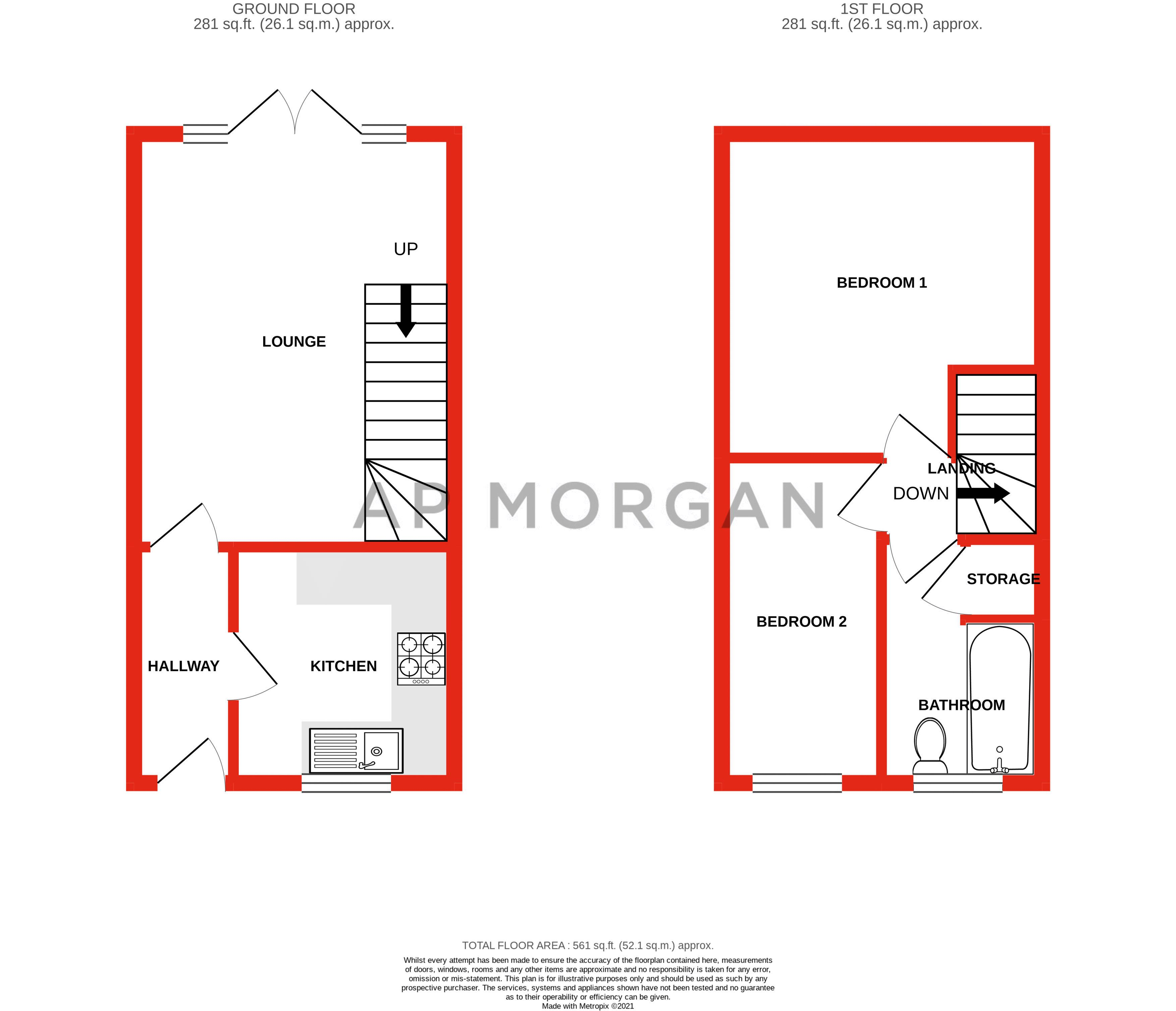 2 bed house for sale in Knowle Close - Property Floorplan