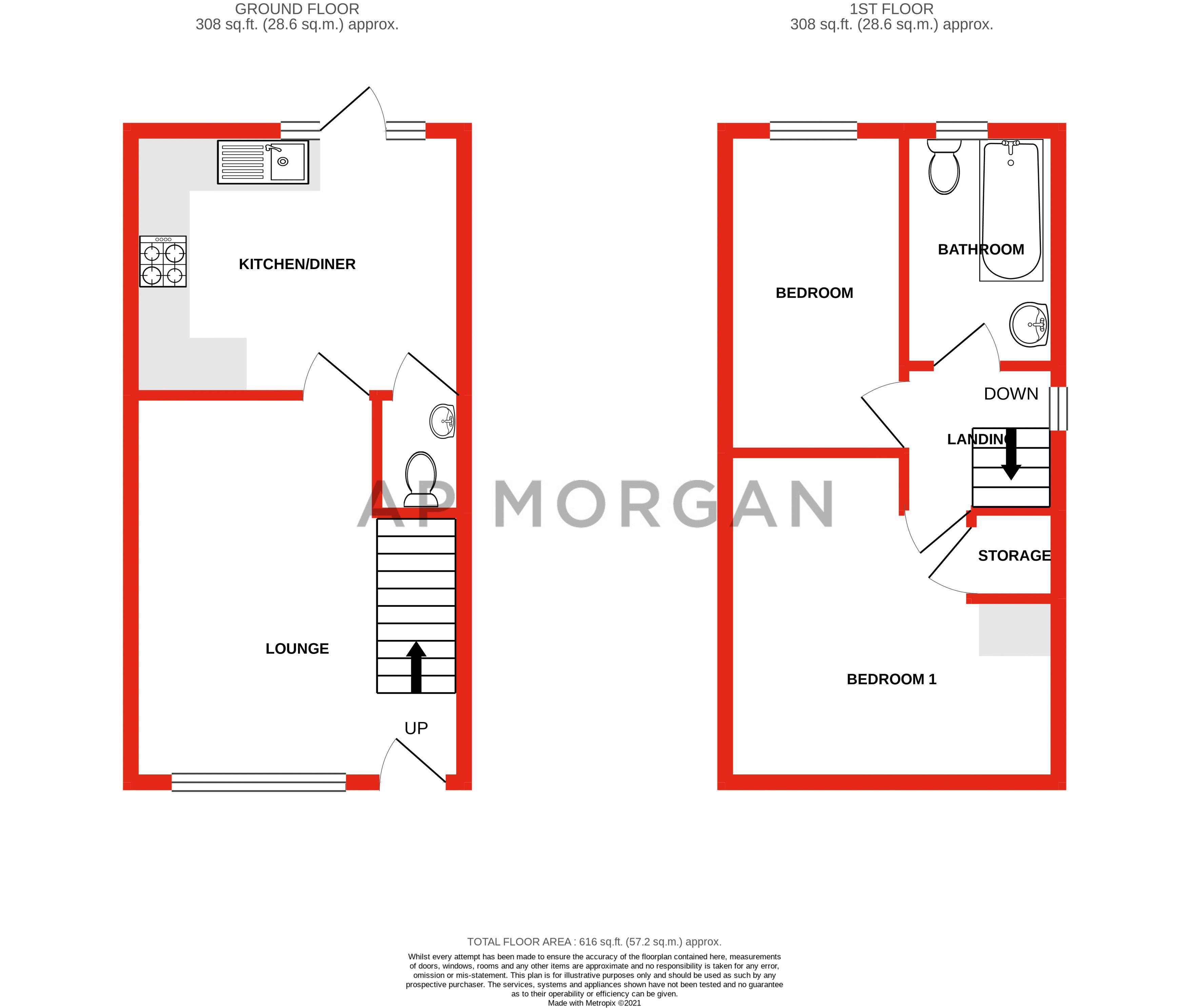2 bed house for sale in Trippleton Avenue - Property Floorplan