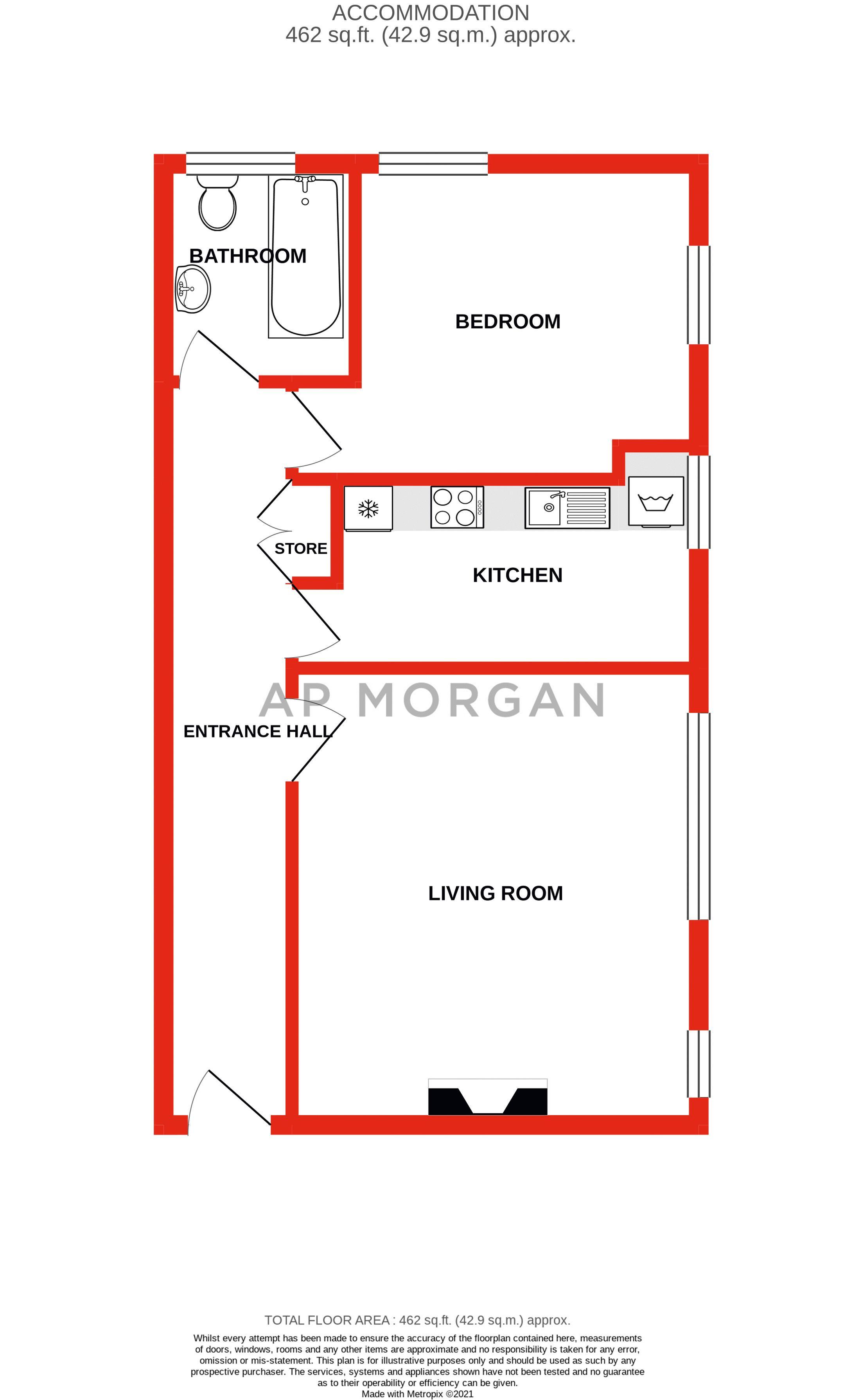 1 bed flat for sale in Calthorpe Road - Property Floorplan