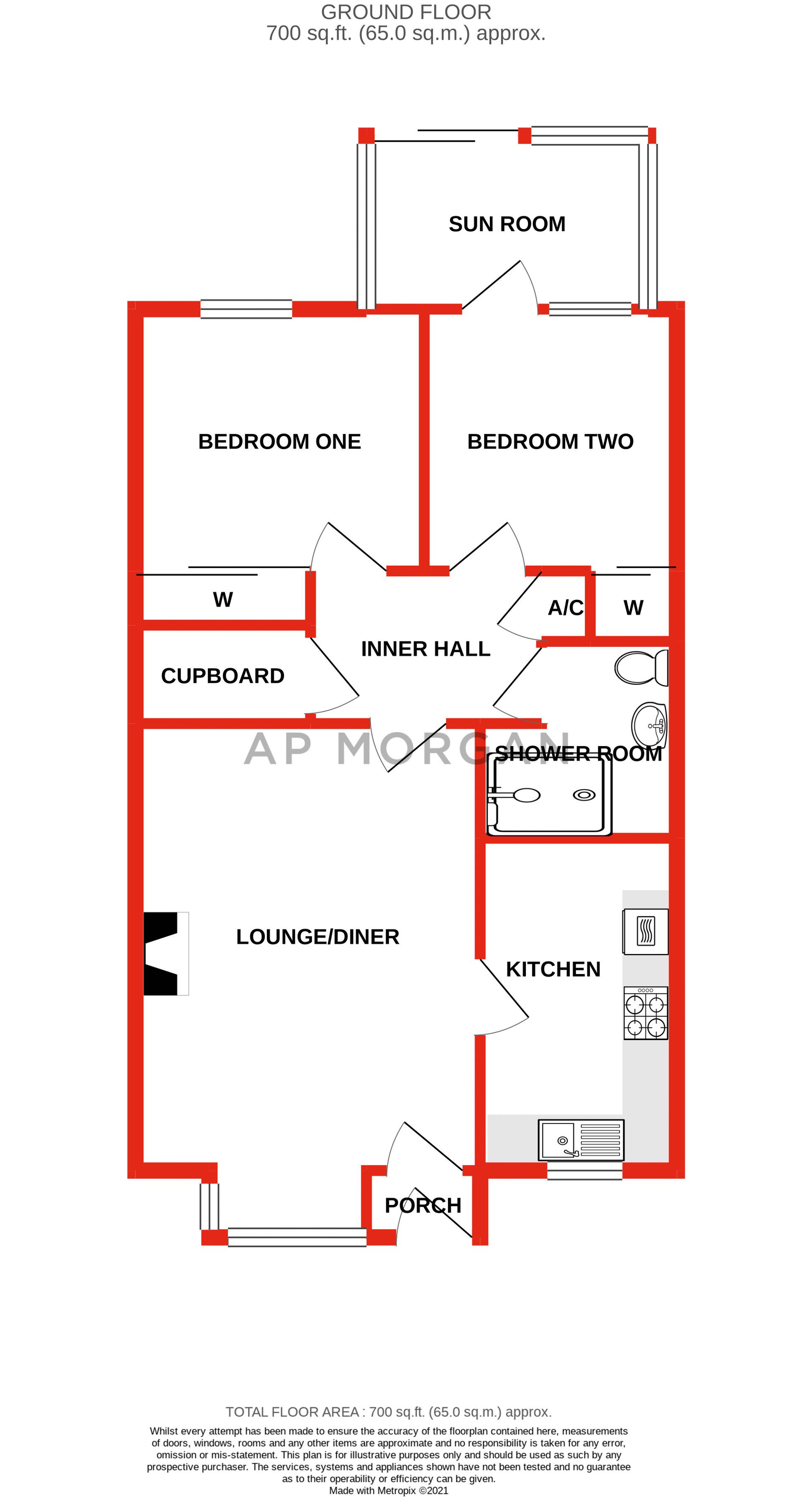 2 bed bungalow for sale in Naseby Close - Property Floorplan